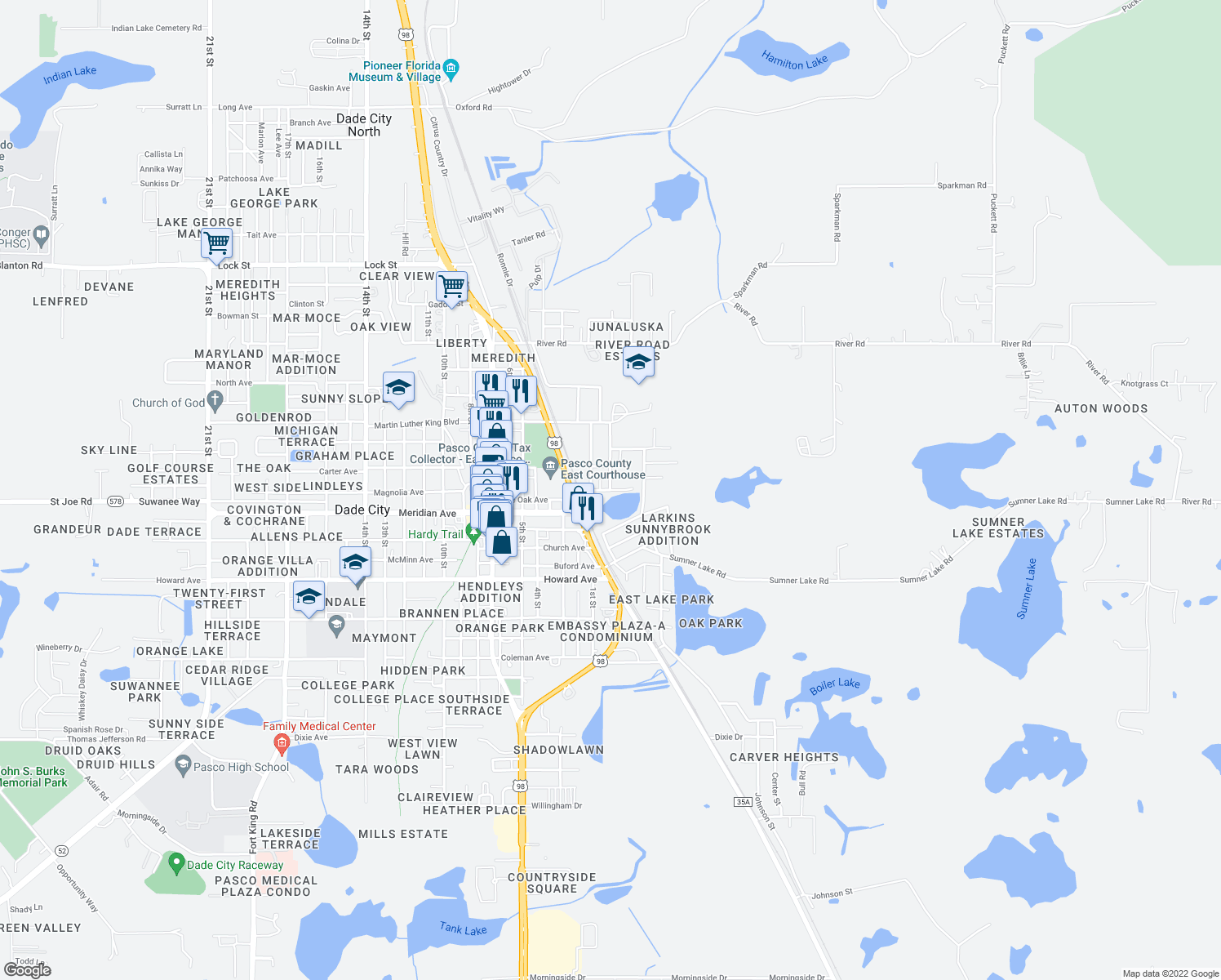 map of restaurants, bars, coffee shops, grocery stores, and more near Irvin Avenue in Dade City