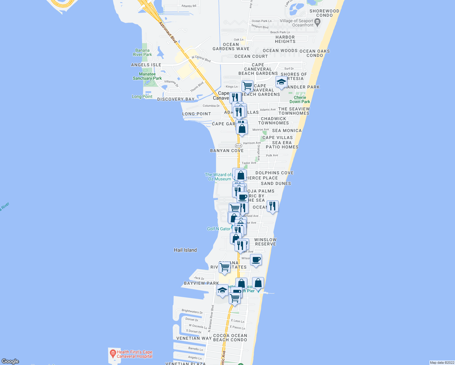 map of restaurants, bars, coffee shops, grocery stores, and more near 191 Center Street in Cape Canaveral