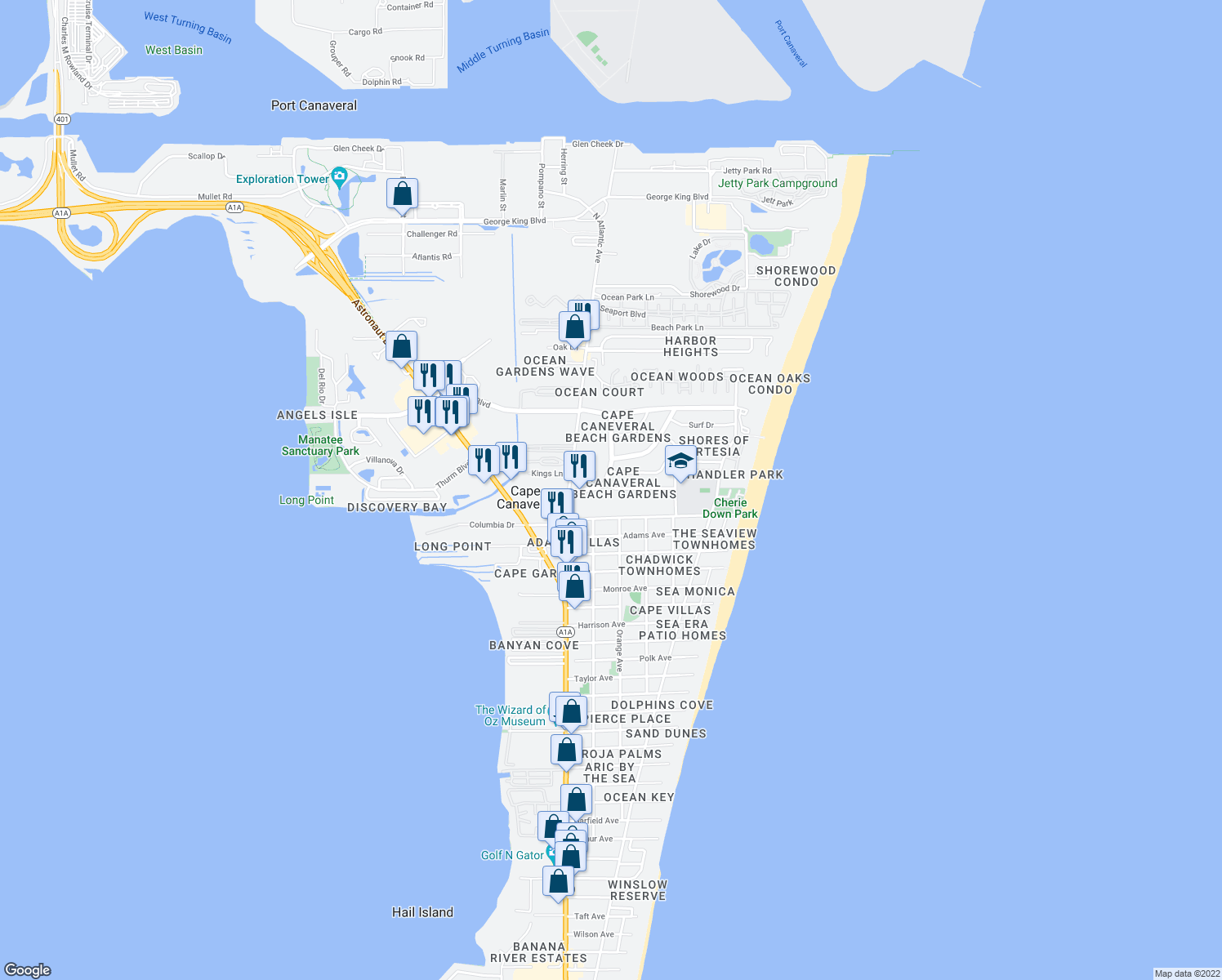 map of restaurants, bars, coffee shops, grocery stores, and more near 211 Caroline Street in Cape Canaveral