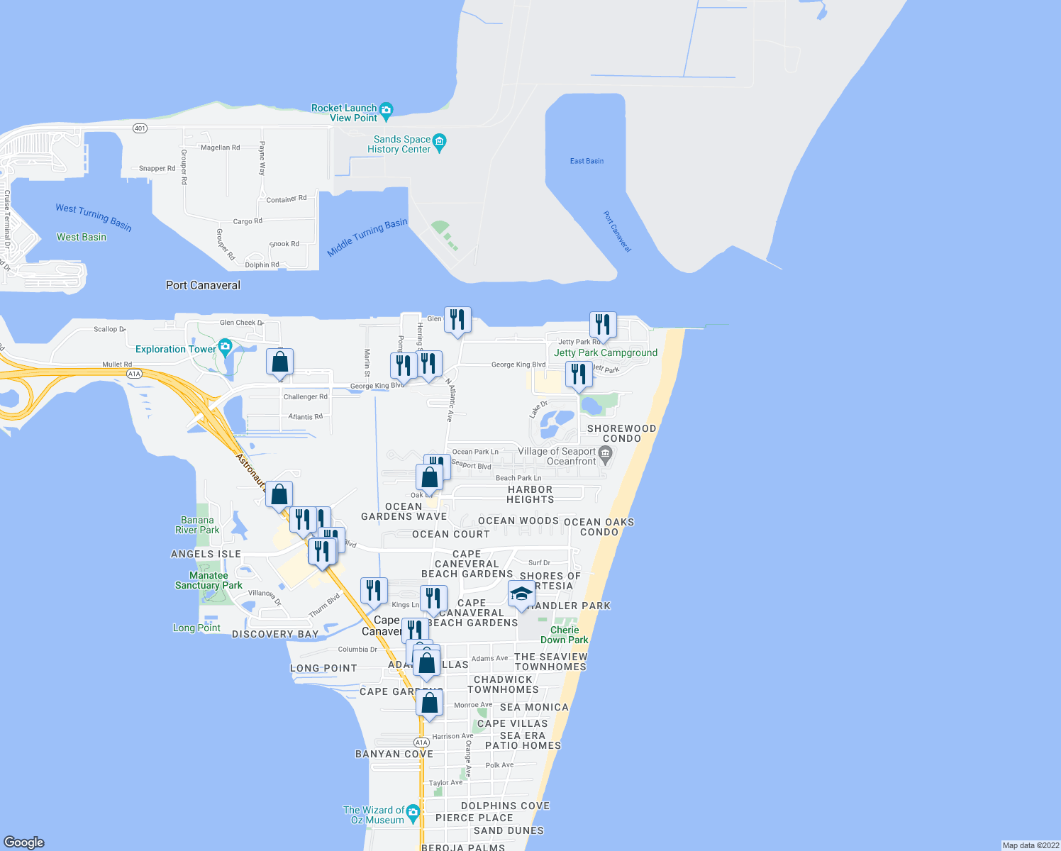 map of restaurants, bars, coffee shops, grocery stores, and more near 8921 Lake Drive in Cape Canaveral