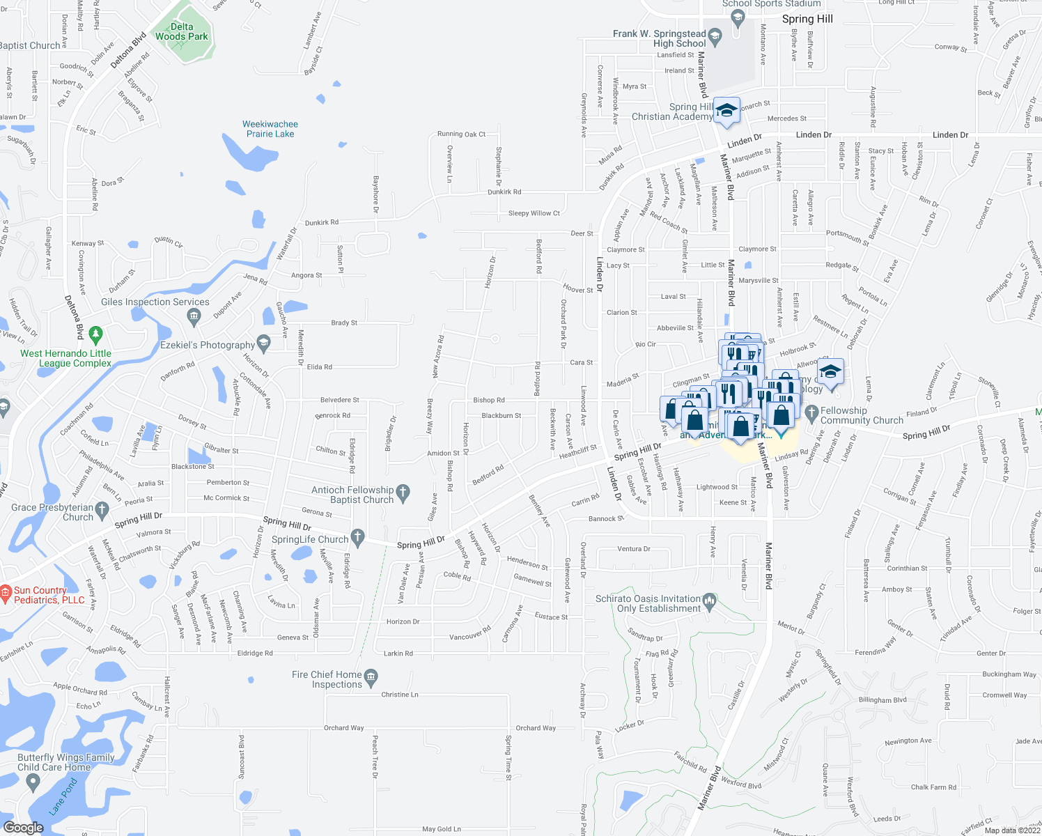 map of restaurants, bars, coffee shops, grocery stores, and more near 10233 Bedford Road in Spring Hill