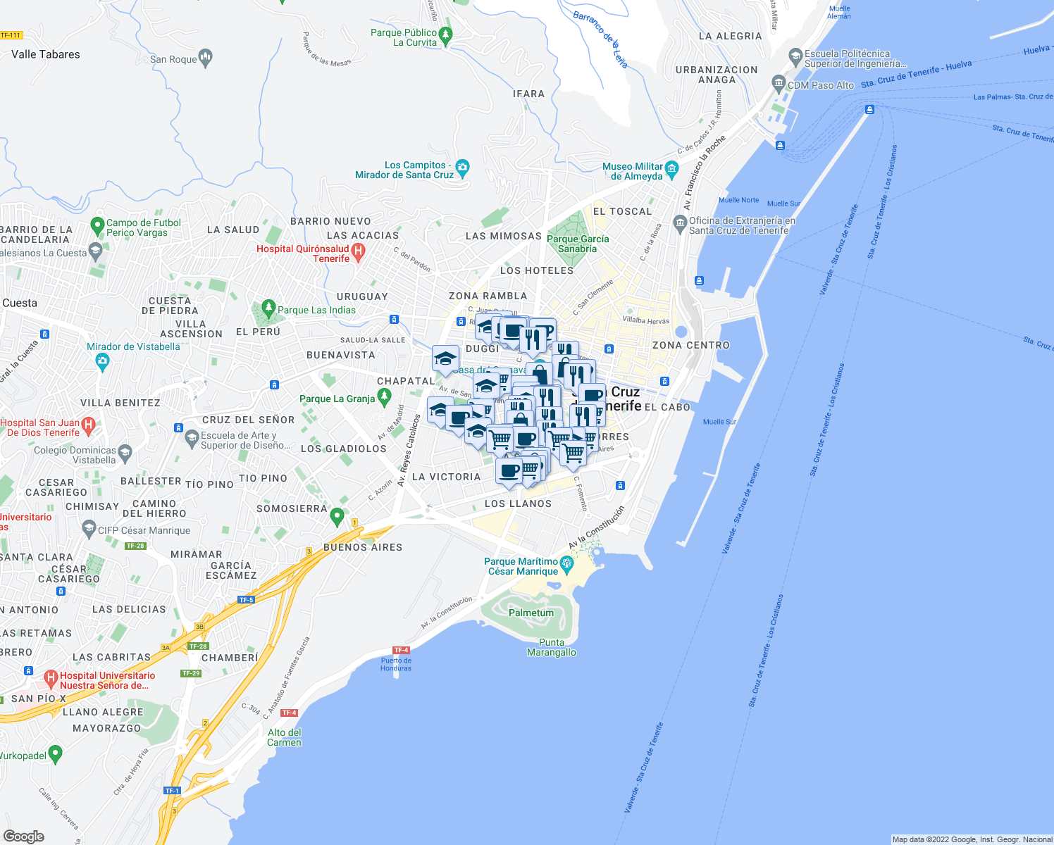 map of restaurants, bars, coffee shops, grocery stores, and more near 3 Avenida la Salle in Santa Cruz de Tenerife