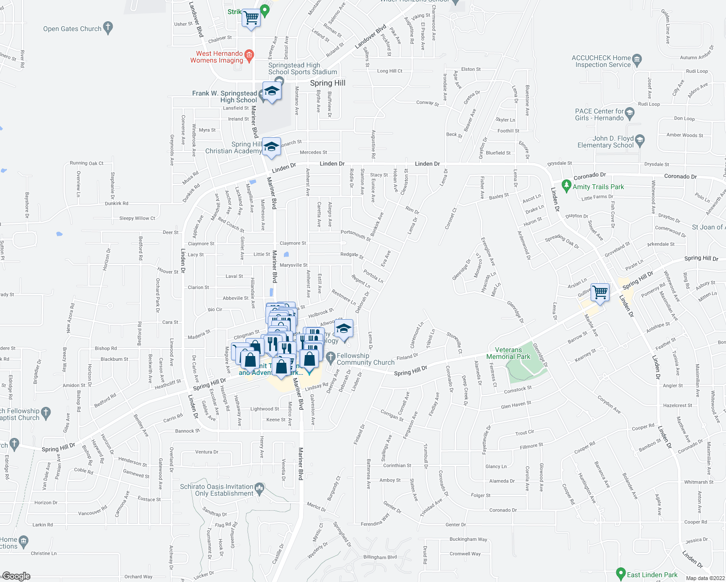 map of restaurants, bars, coffee shops, grocery stores, and more near 2266 Malaga Avenue in Spring Hill