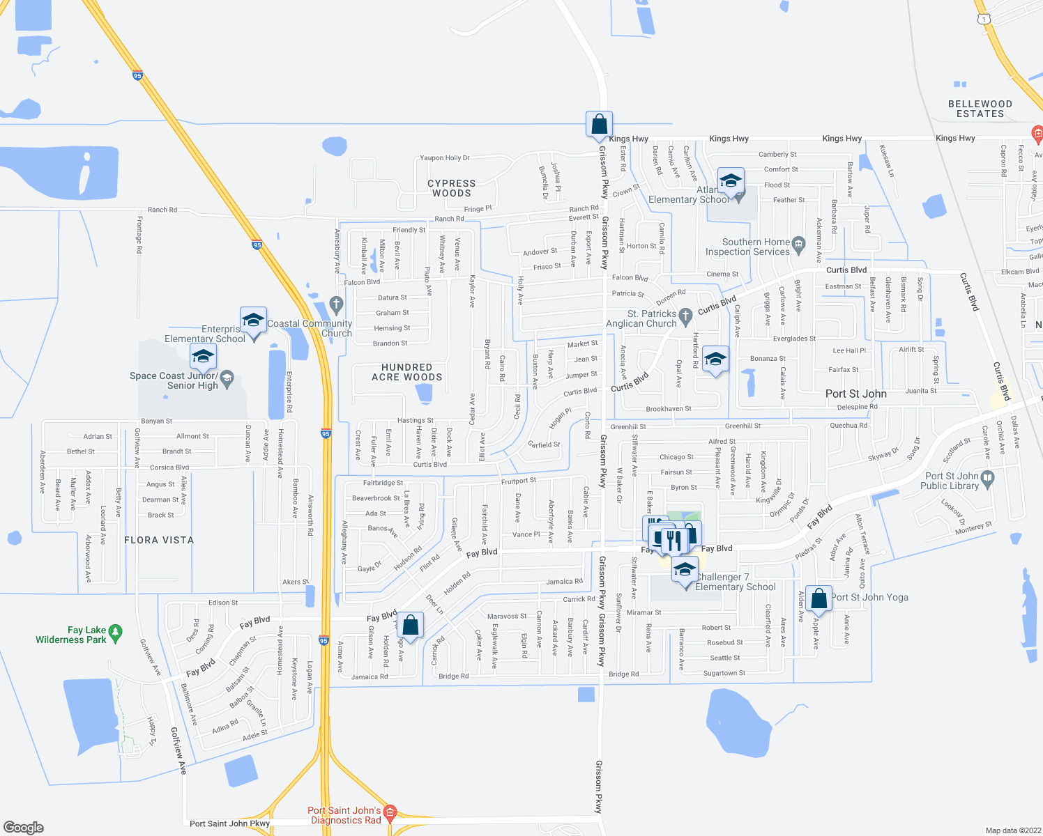 map of restaurants, bars, coffee shops, grocery stores, and more near 6697 Cecil Road in Cocoa