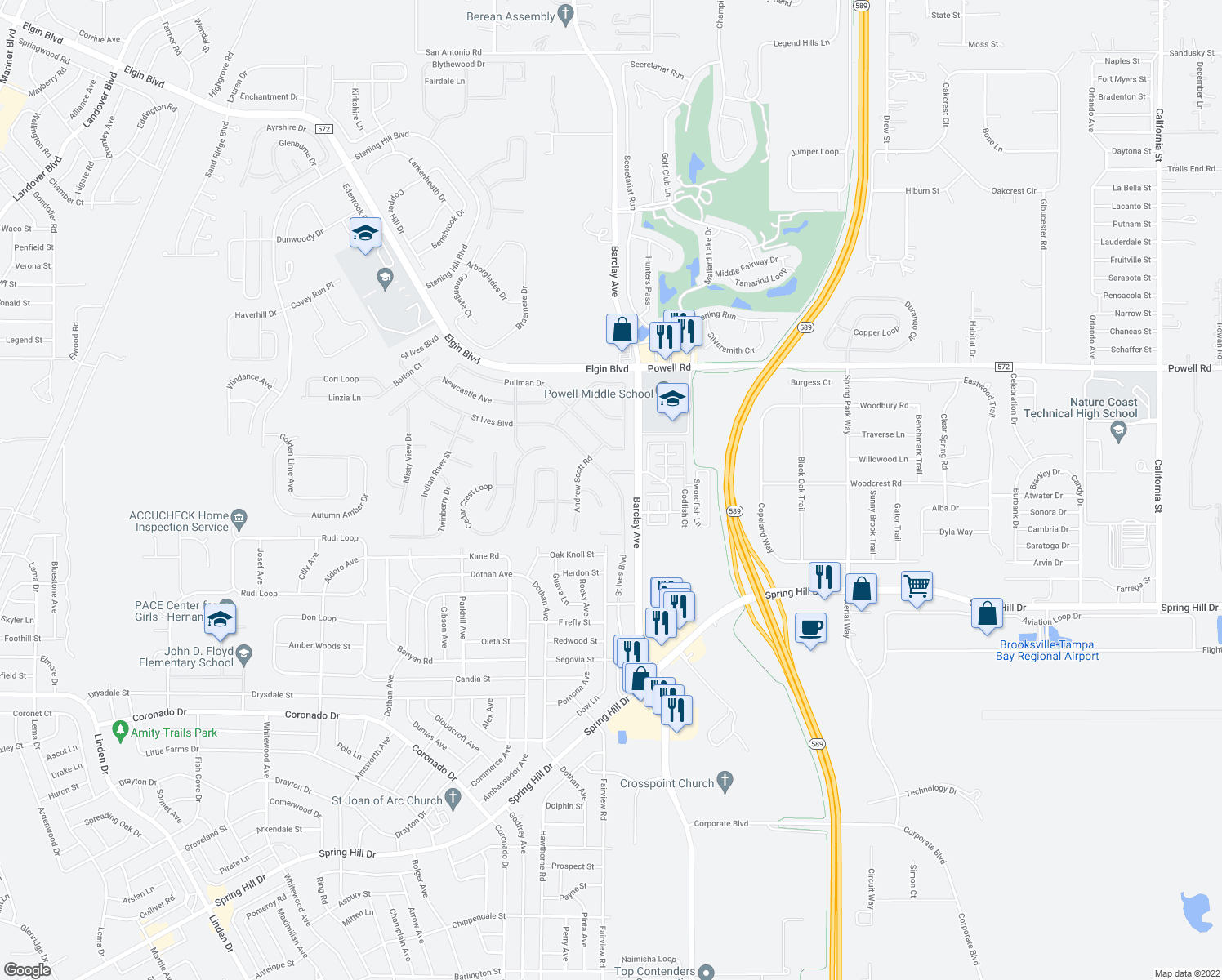 map of restaurants, bars, coffee shops, grocery stores, and more near 3467 St Ives Blvd in Spring Hill
