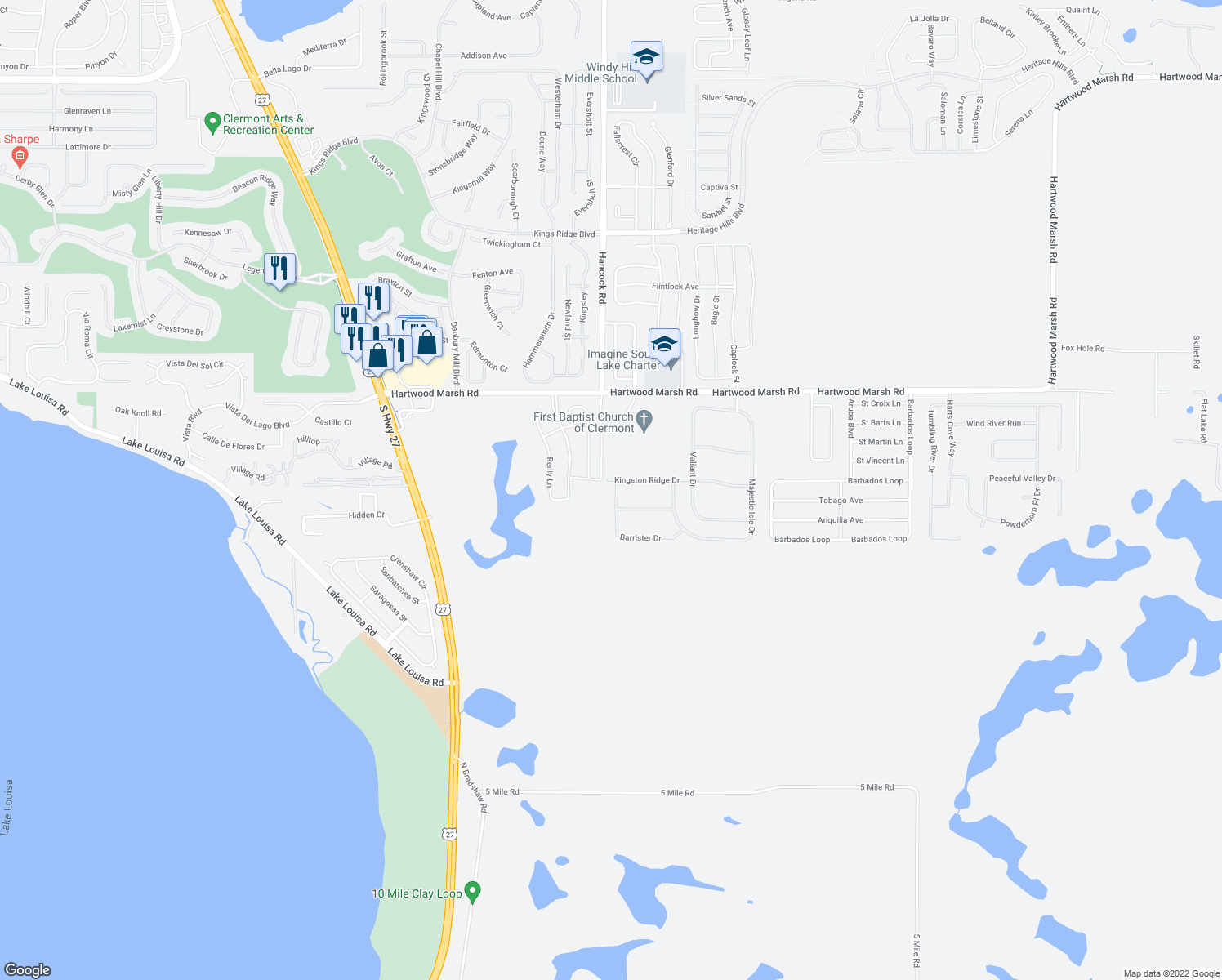 map of restaurants, bars, coffee shops, grocery stores, and more near 4500 Barrister Drive in Clermont
