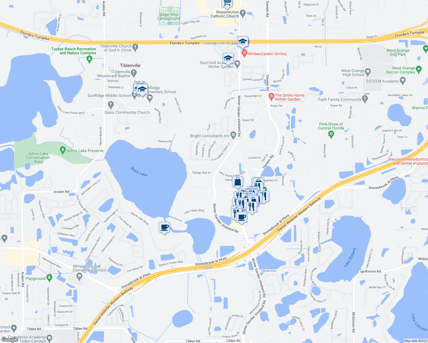 map of restaurants, bars, coffee shops, grocery stores, and more near Winter Garden Vineland Road in Winter Garden