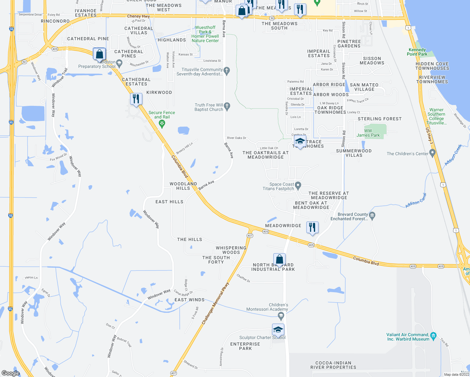 map of restaurants, bars, coffee shops, grocery stores, and more near in Titusville