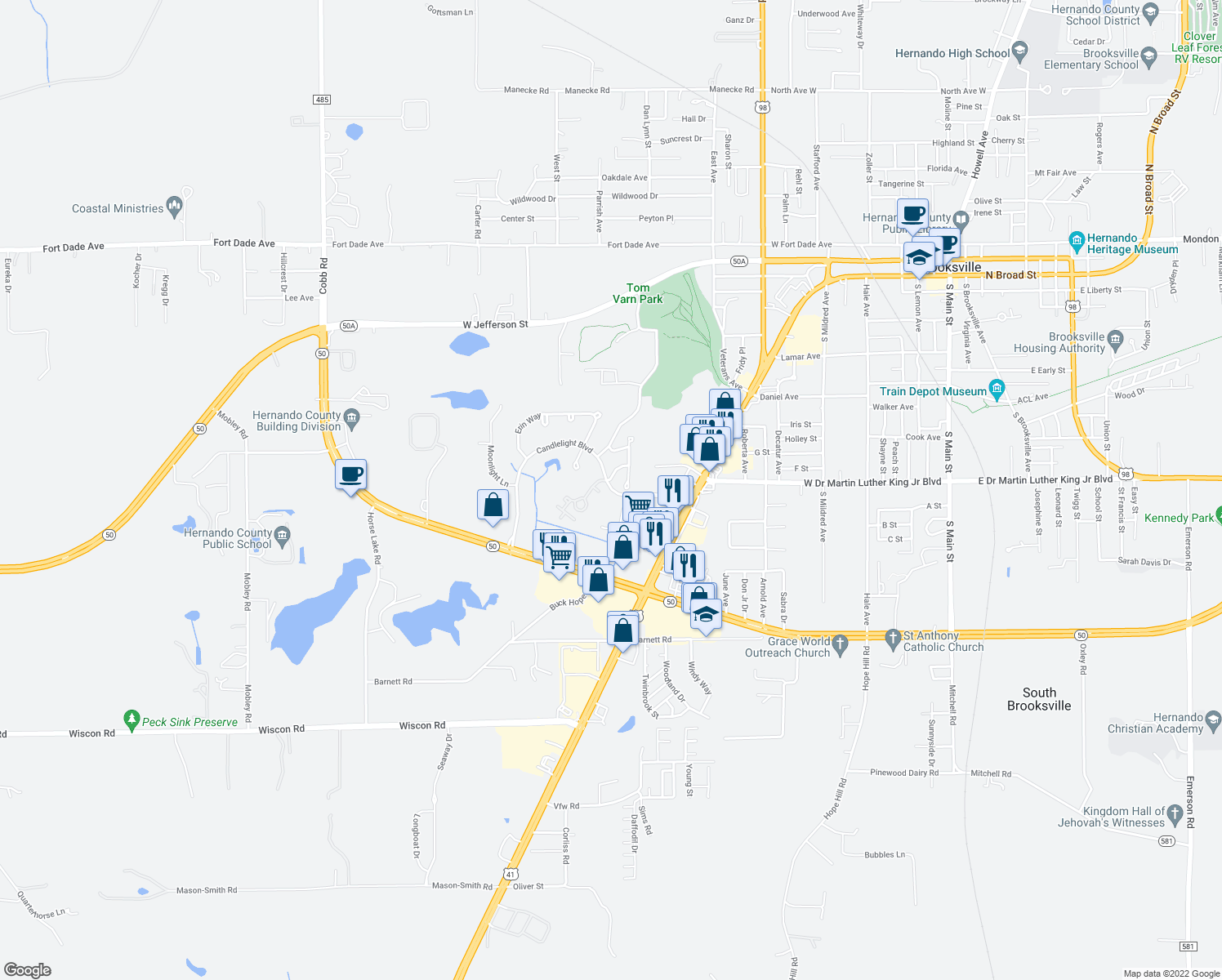 map of restaurants, bars, coffee shops, grocery stores, and more near 998 Candlelight Boulevard in Brooksville
