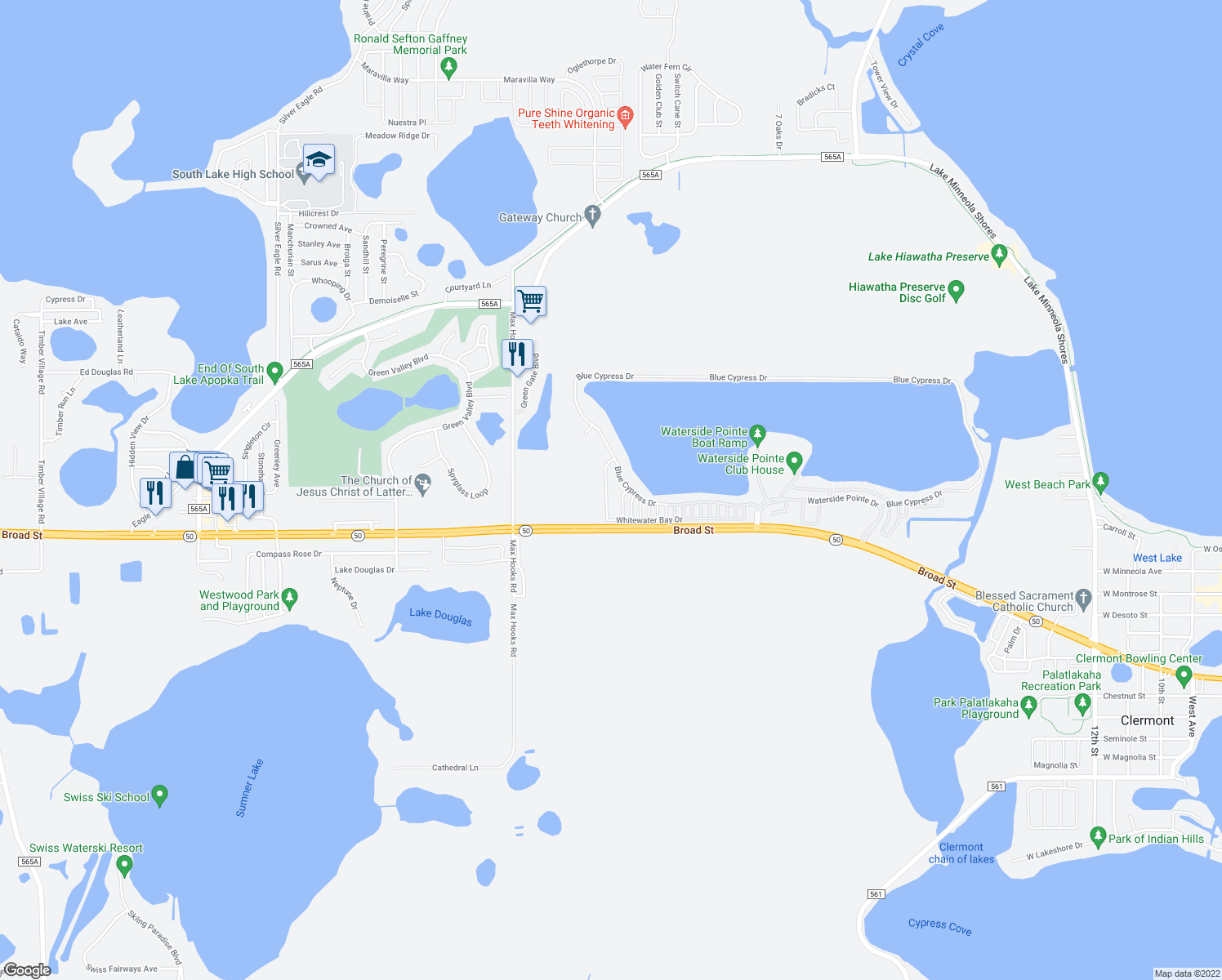map of restaurants, bars, coffee shops, grocery stores, and more near 1121 Whitewater Bay Drive in Groveland