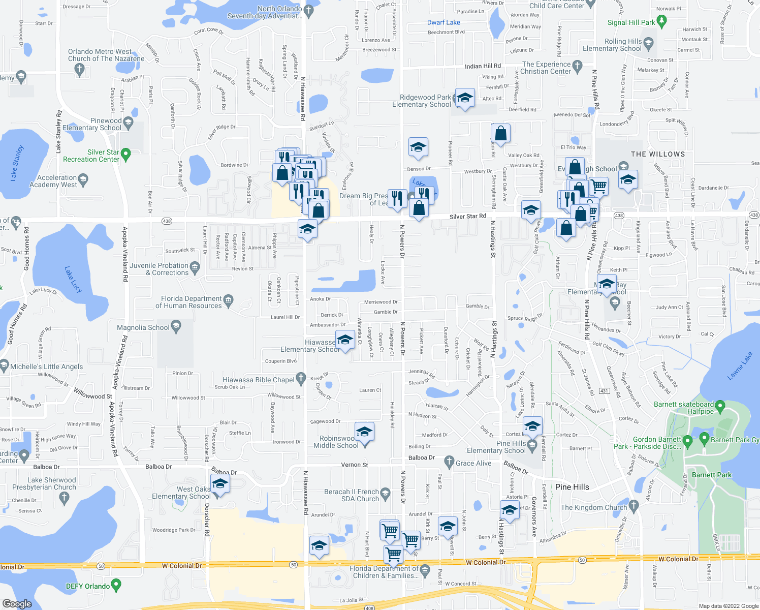 map of restaurants, bars, coffee shops, grocery stores, and more near 6407-6411 Merriewood Drive in Pine Hills