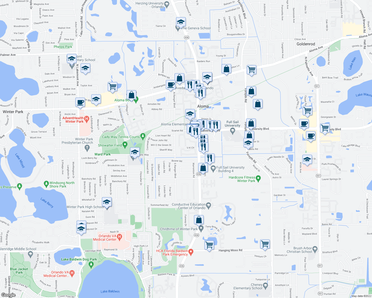 map of restaurants, bars, coffee shops, grocery stores, and more near 2700-2898 U K Circle in Winter Park