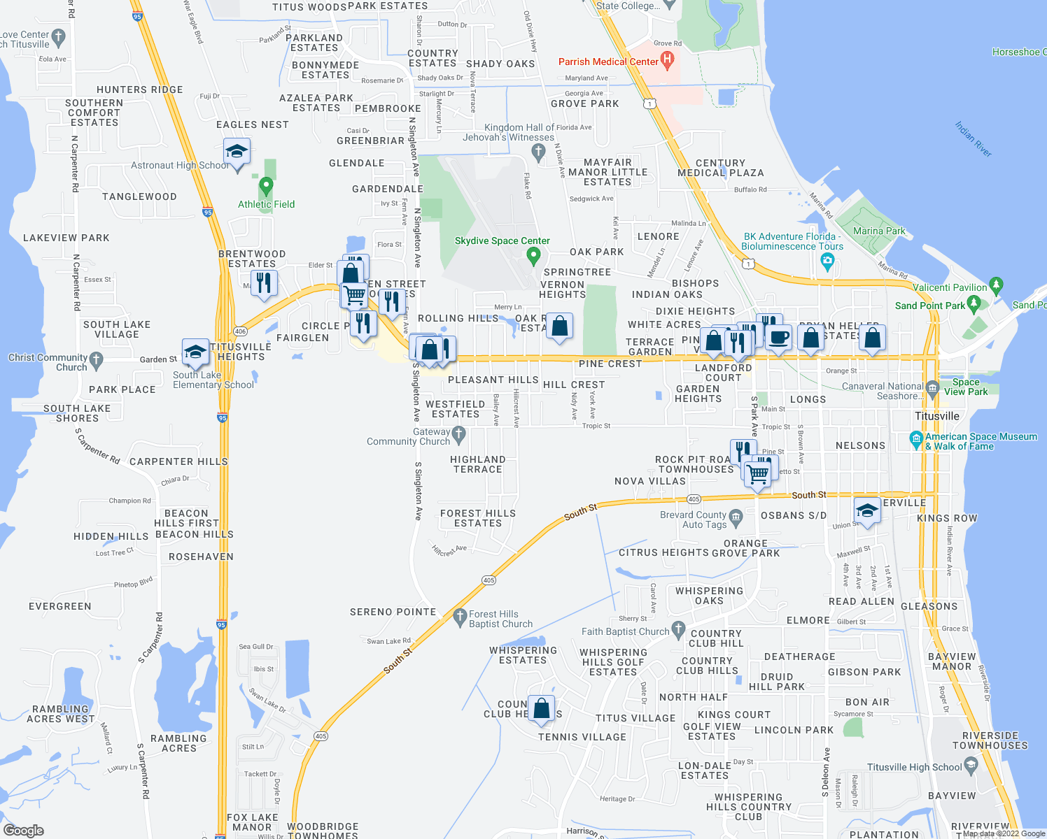 map of restaurants, bars, coffee shops, grocery stores, and more near 312 Mantor Avenue South in Titusville