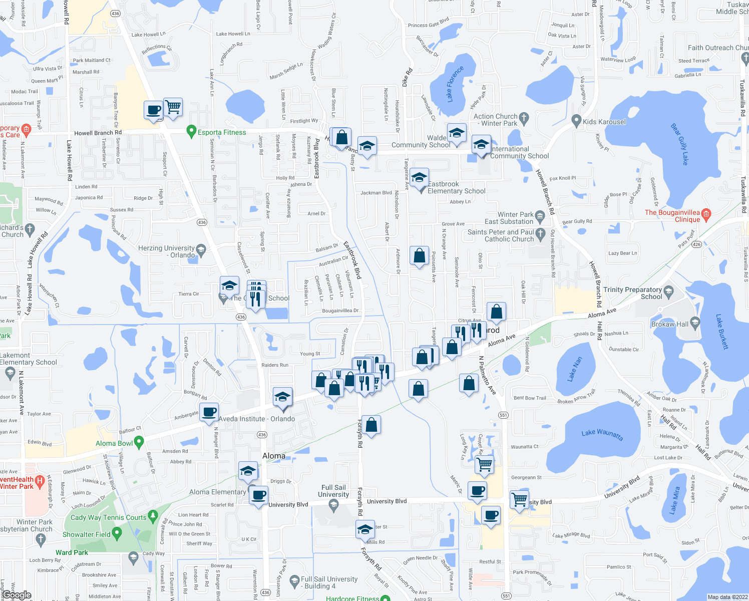 map of restaurants, bars, coffee shops, grocery stores, and more near 3630 Mango Court in Winter Park