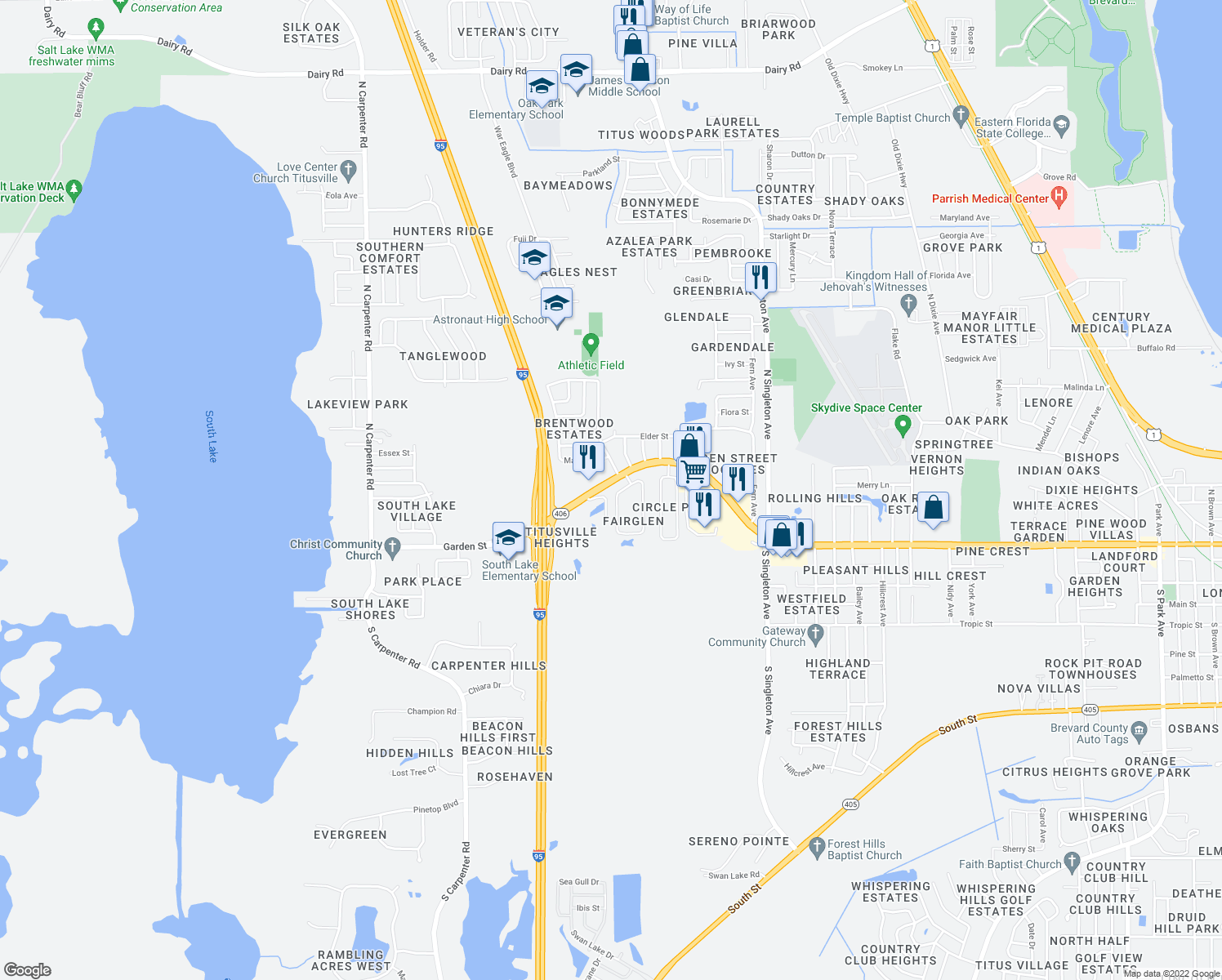 map of restaurants, bars, coffee shops, grocery stores, and more near 10 Fairglen Drive in Titusville