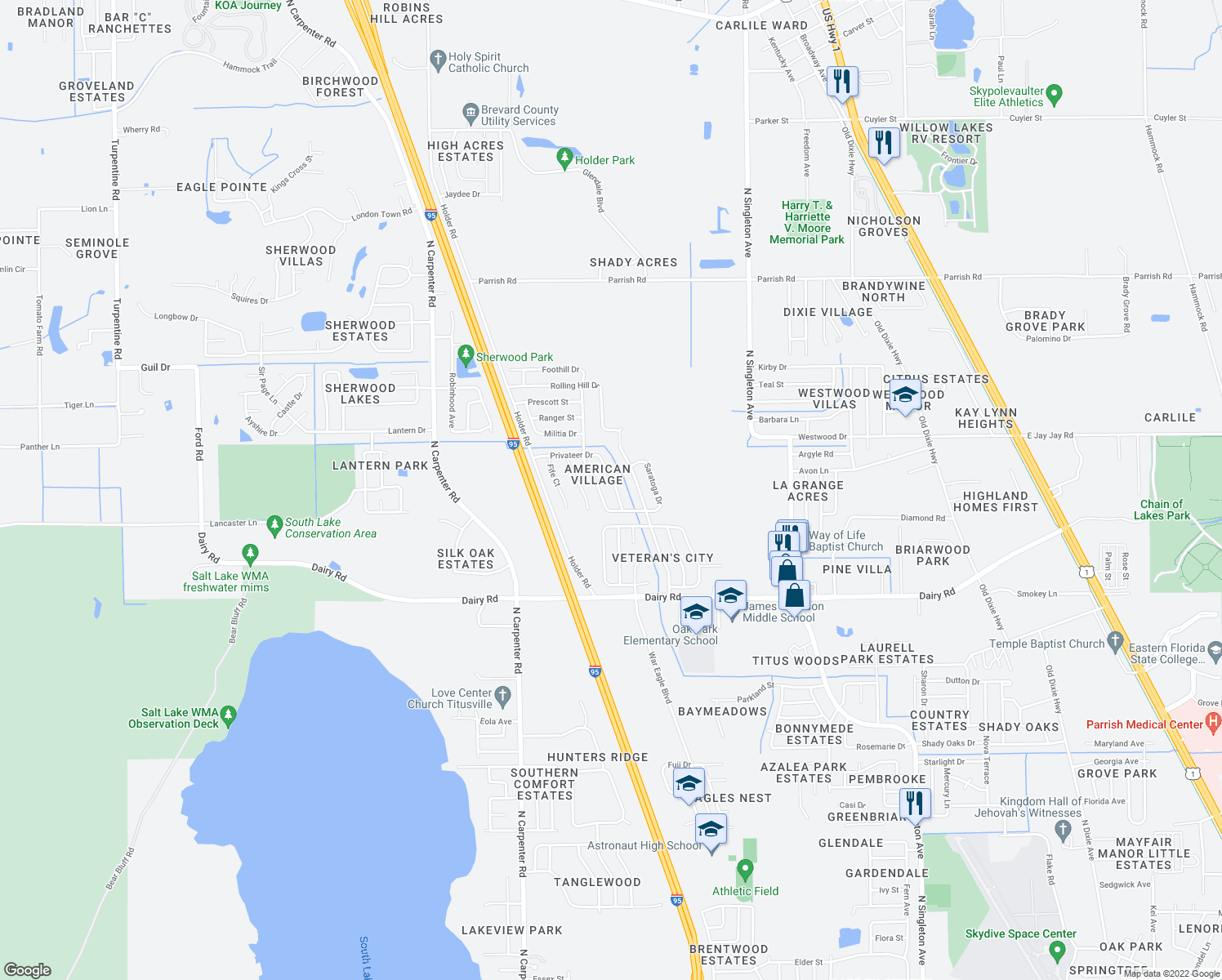 map of restaurants, bars, coffee shops, grocery stores, and more near 1646 Privateer Drive in Titusville