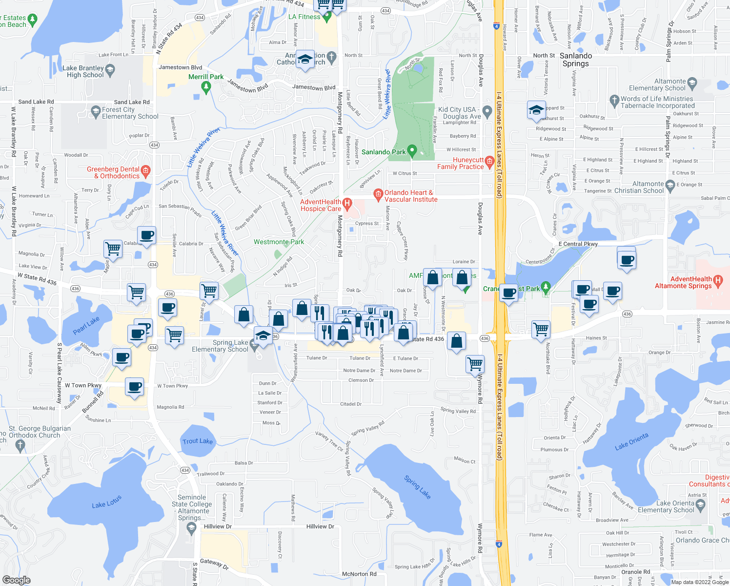 map of restaurants, bars, coffee shops, grocery stores, and more near 492-498 Oak Street in Altamonte Springs