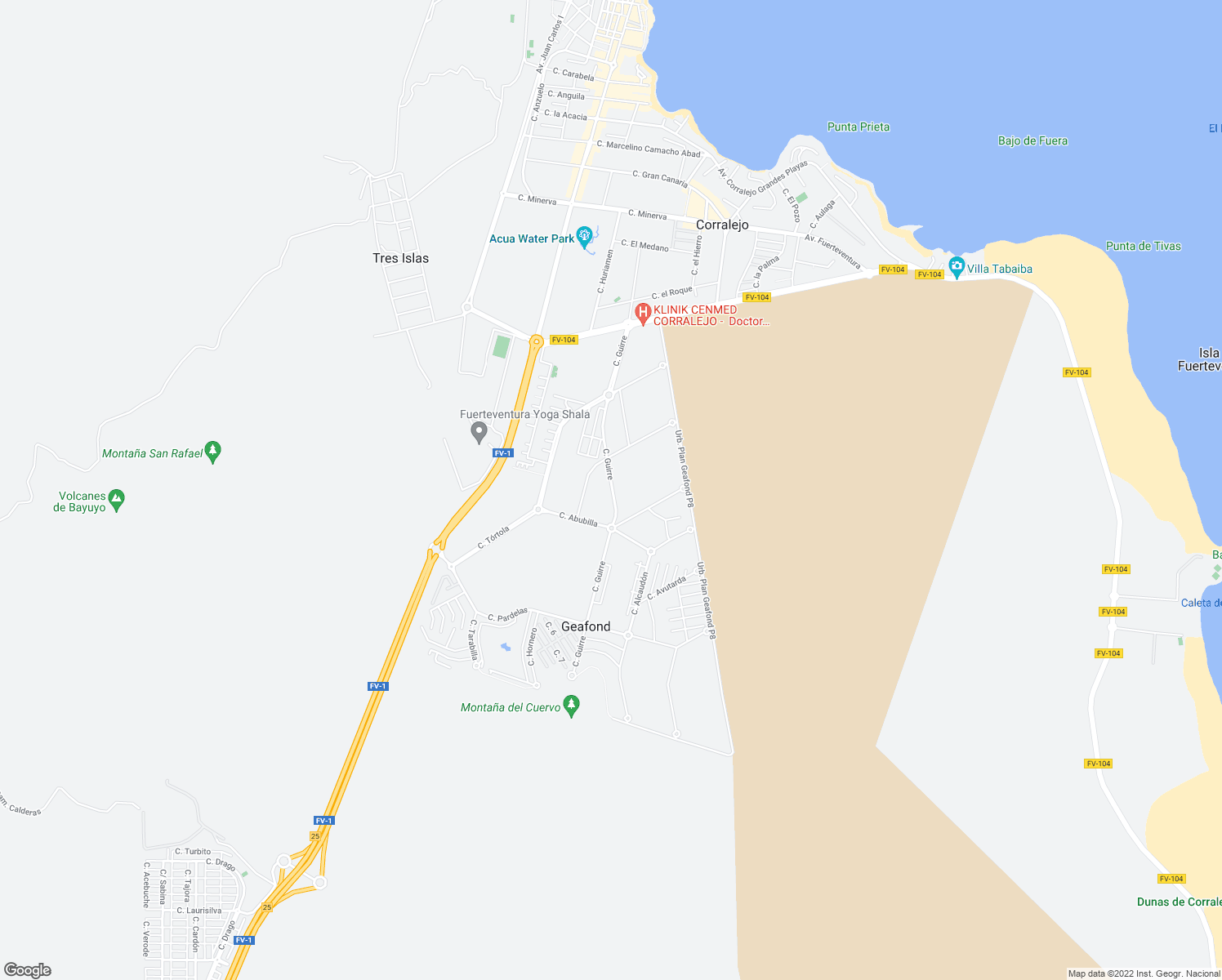 map of restaurants, bars, coffee shops, grocery stores, and more near 8 Calle Guirre in Corralejo