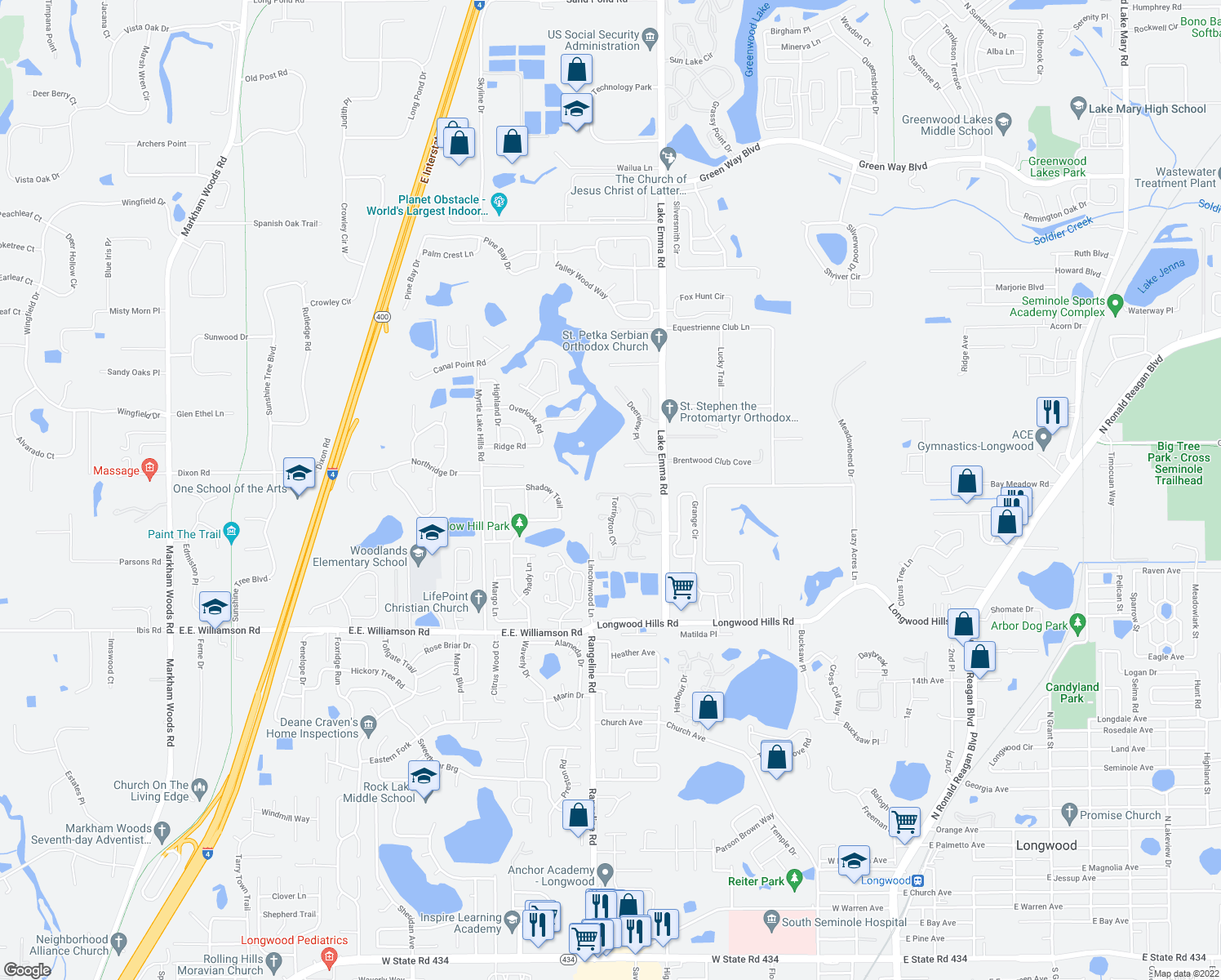 map of restaurants, bars, coffee shops, grocery stores, and more near 969 Cobbler Court in Longwood