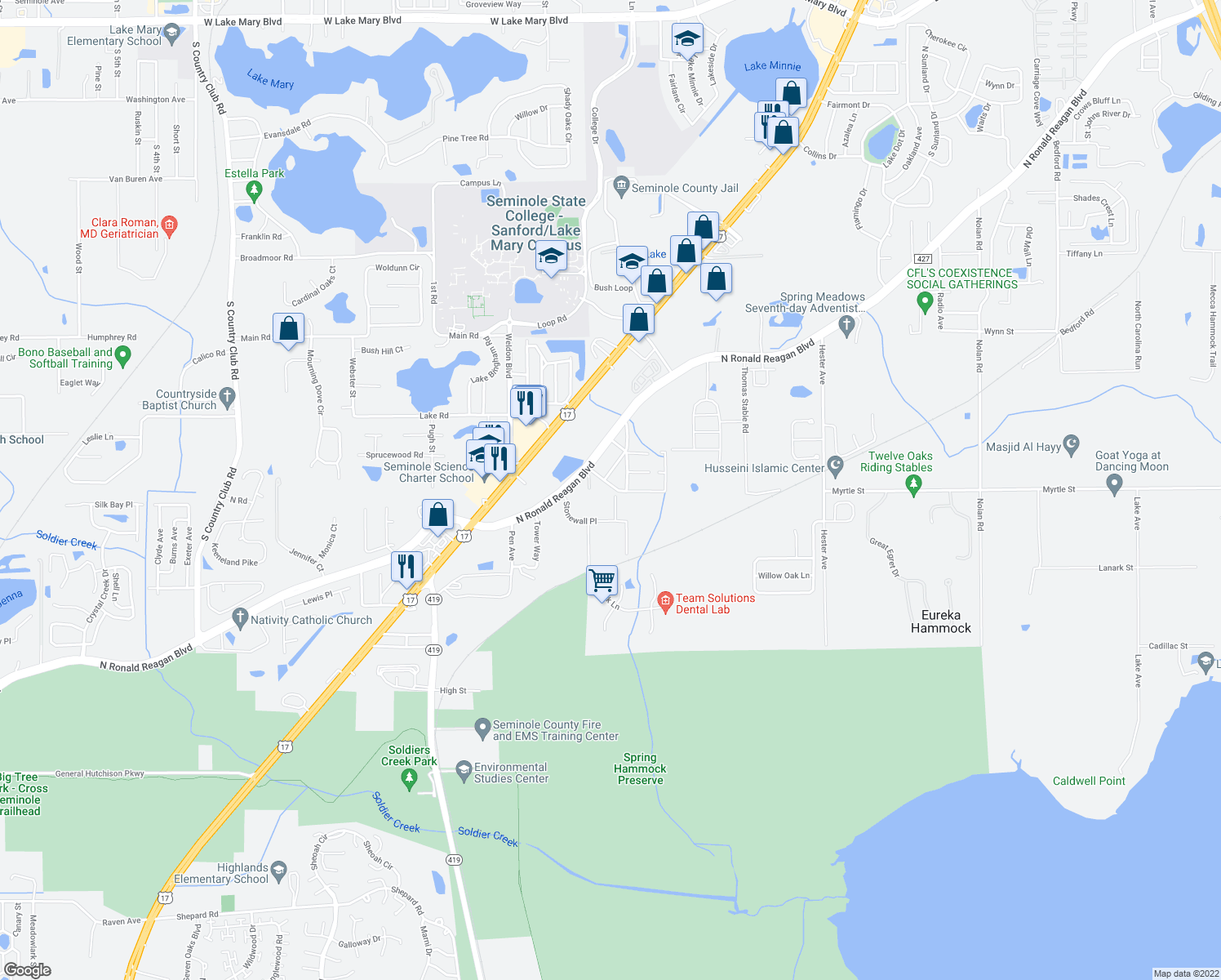 map of restaurants, bars, coffee shops, grocery stores, and more near 2871 Gardens Drive in Sanford