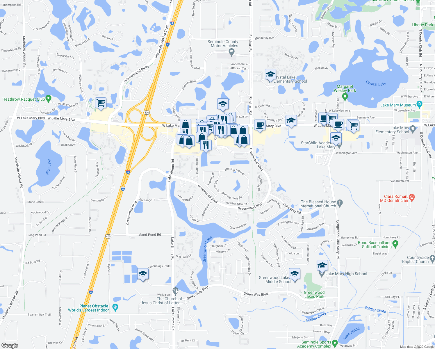 map of restaurants, bars, coffee shops, grocery stores, and more near 168 Mill Run Drive in Lake Mary