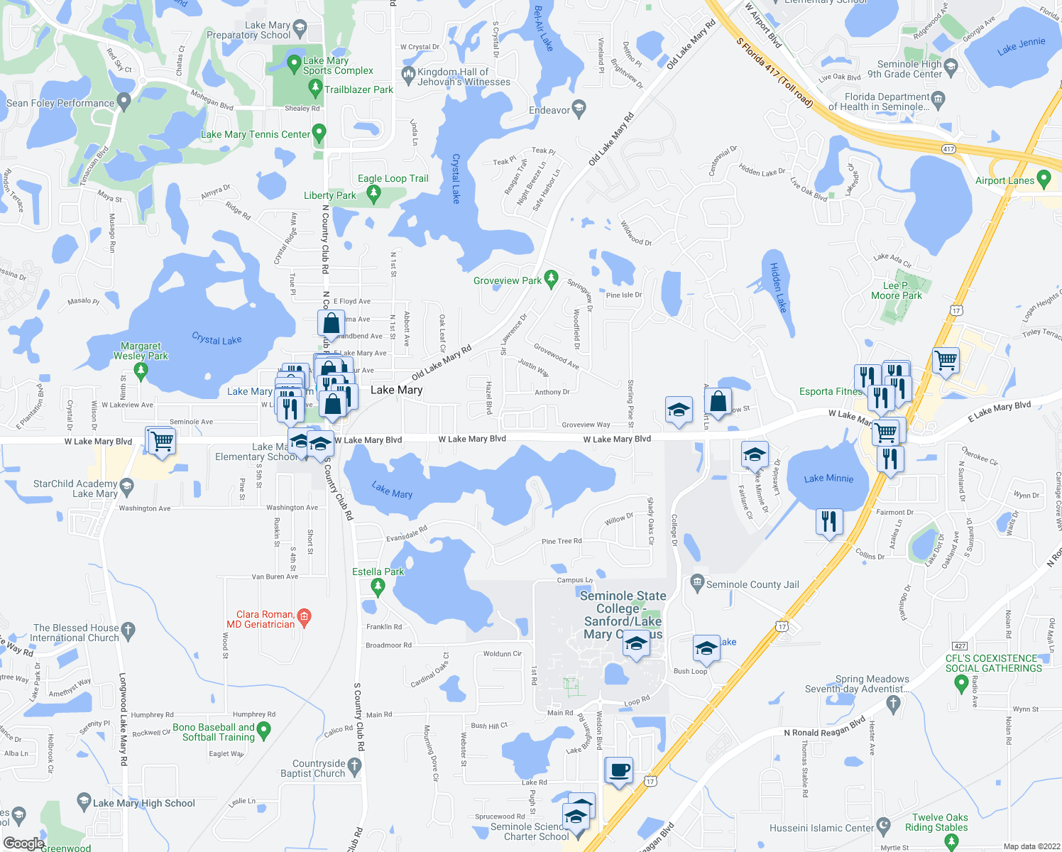 map of restaurants, bars, coffee shops, grocery stores, and more near 1526 Lake Mary Boulevard in Lake Mary