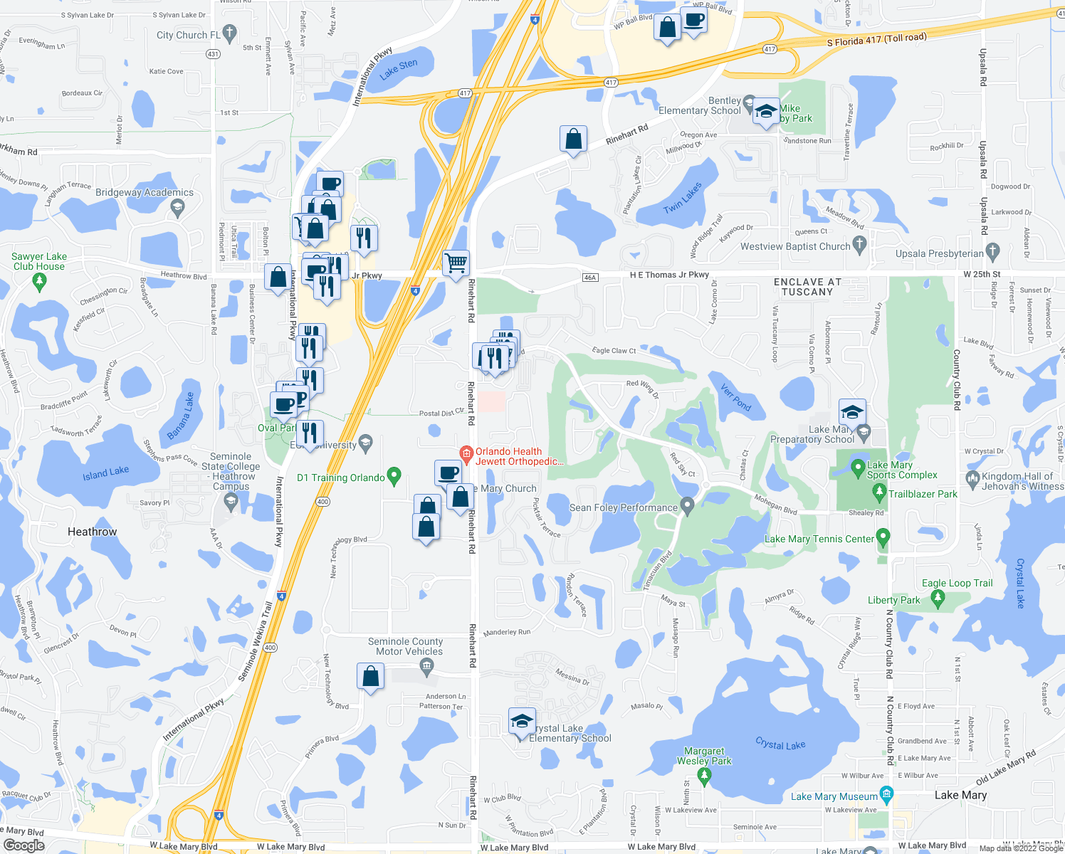 map of restaurants, bars, coffee shops, grocery stores, and more near 700 Oakland Hills Circle in Lake Mary