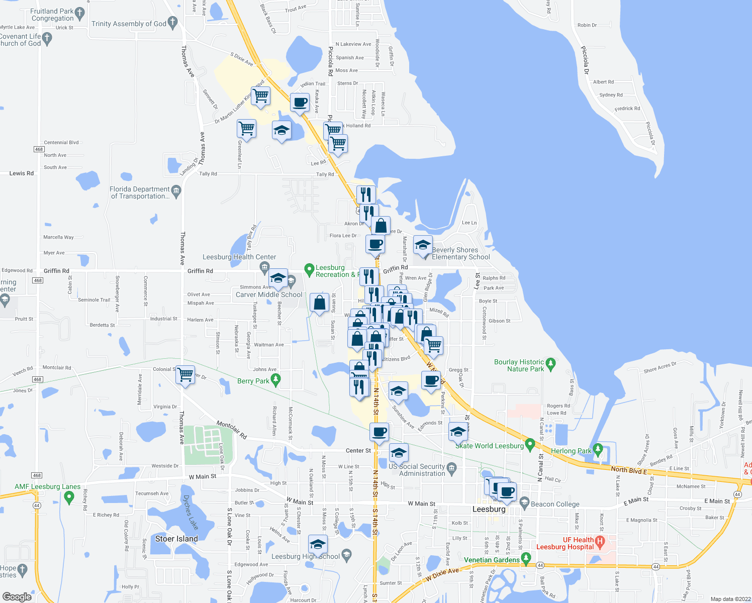 map of restaurants, bars, coffee shops, grocery stores, and more near N 14th St & Hill St in Leesburg
