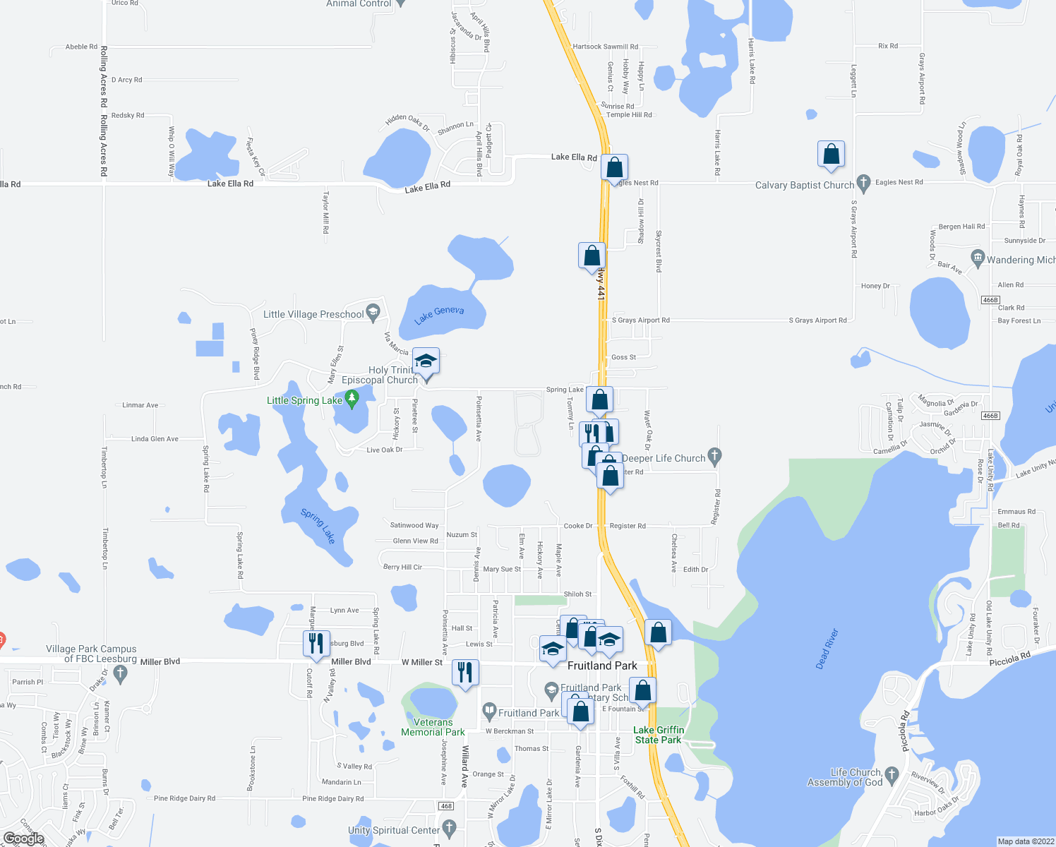 map of restaurants, bars, coffee shops, grocery stores, and more near 1508 Spring Lake Cove Lane in Fruitland Park