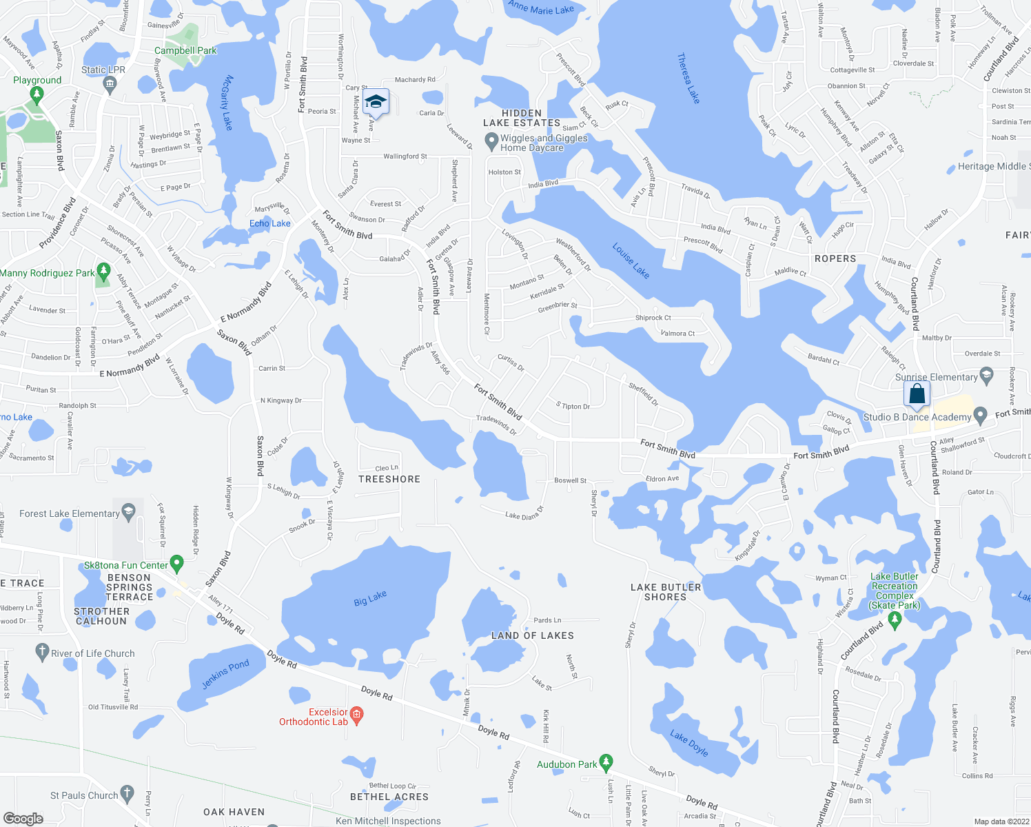 map of restaurants, bars, coffee shops, grocery stores, and more near Fort Smith Blvd & Sagamore Dr in Deltona