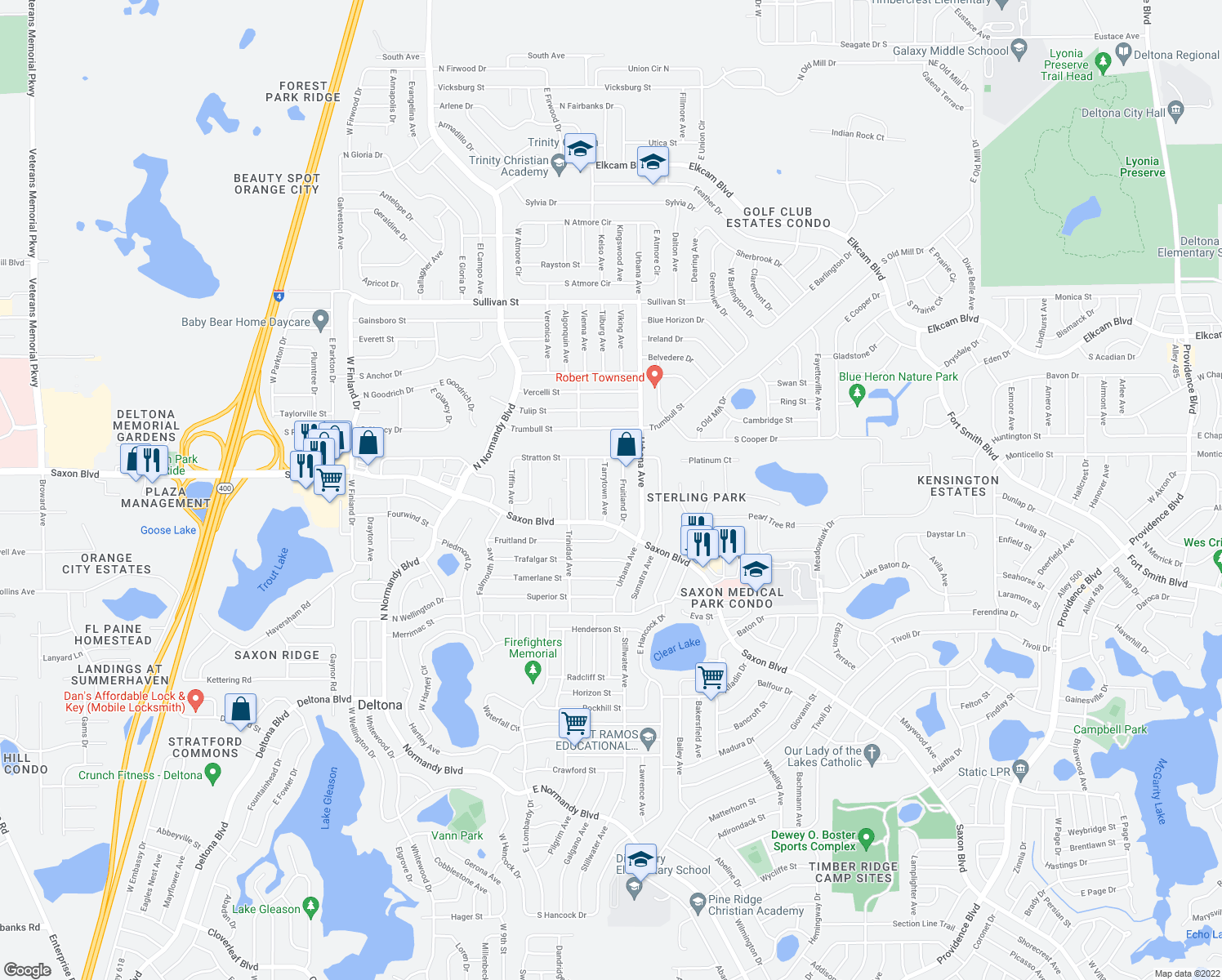 map of restaurants, bars, coffee shops, grocery stores, and more near 1689 Tarrytown Avenue in Deltona
