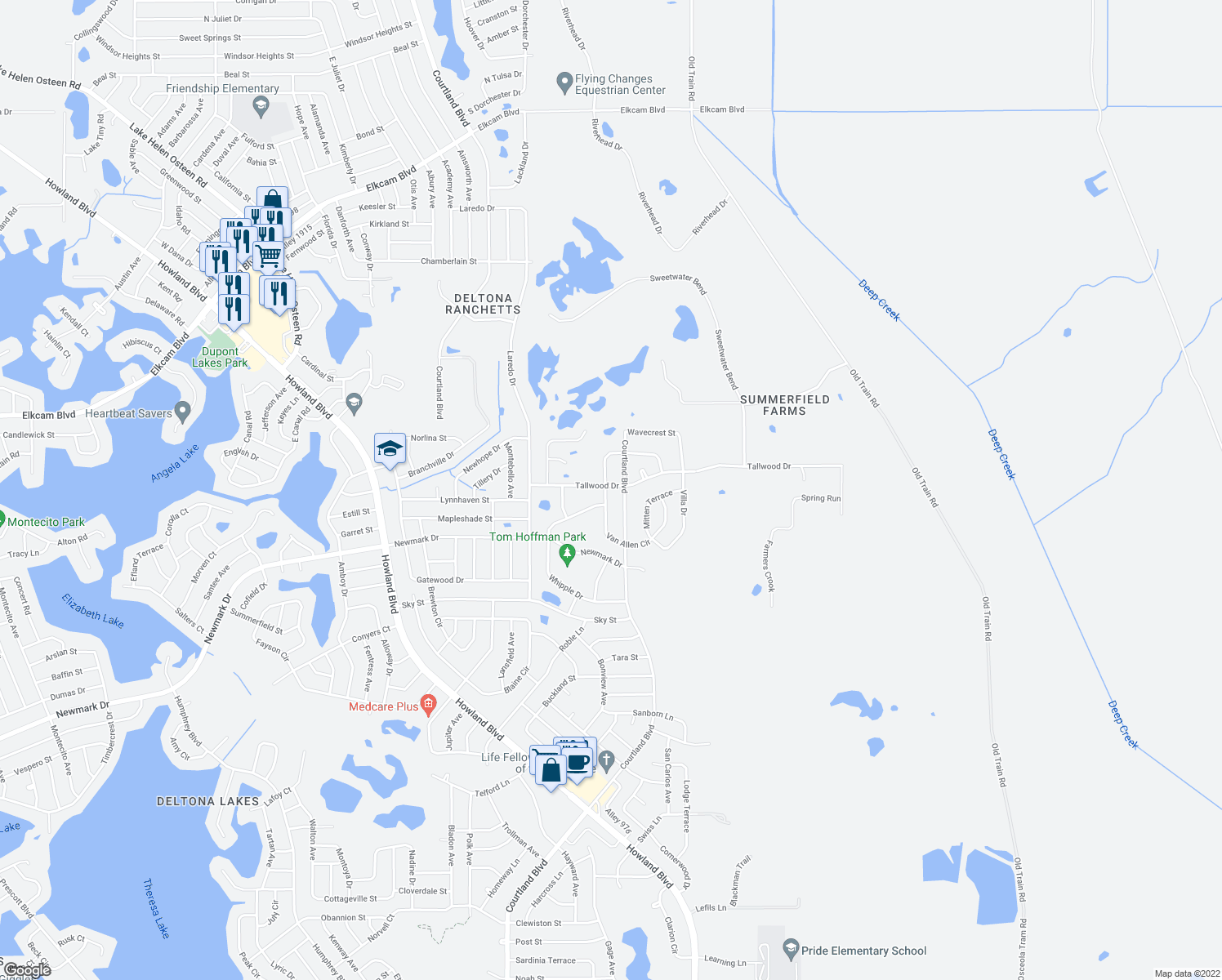 map of restaurants, bars, coffee shops, grocery stores, and more near 1849 Van Allen Circle in Deltona