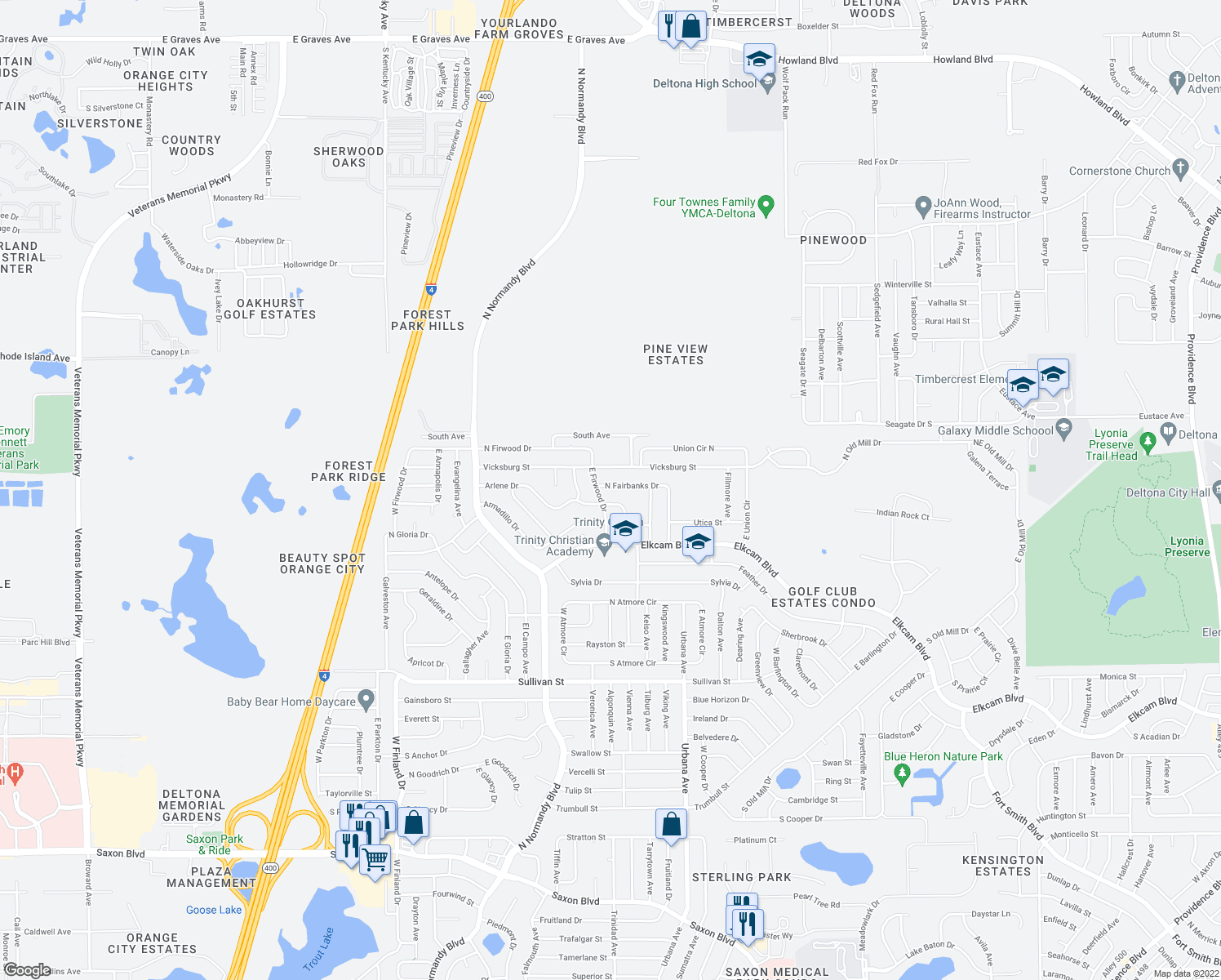 map of restaurants, bars, coffee shops, grocery stores, and more near 813 North Fairbanks Drive in Deltona