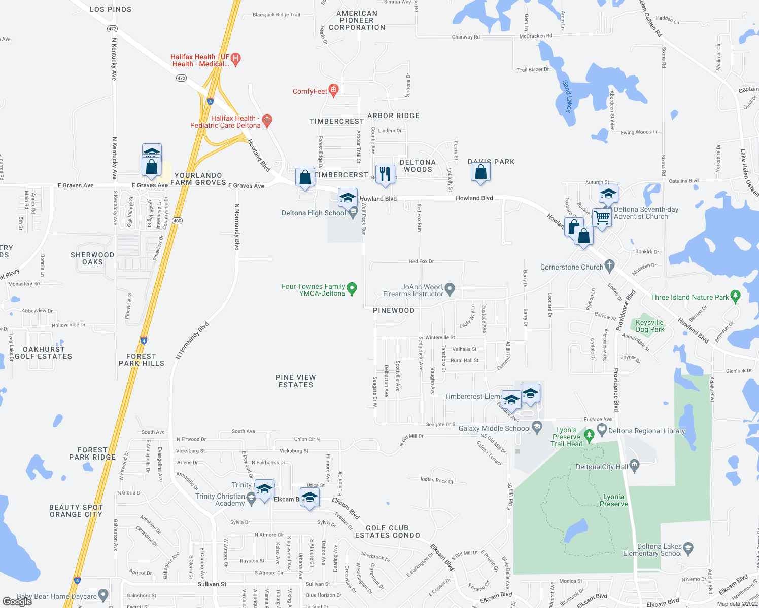 map of restaurants, bars, coffee shops, grocery stores, and more near 1075 W Seagate Dr in Deltona