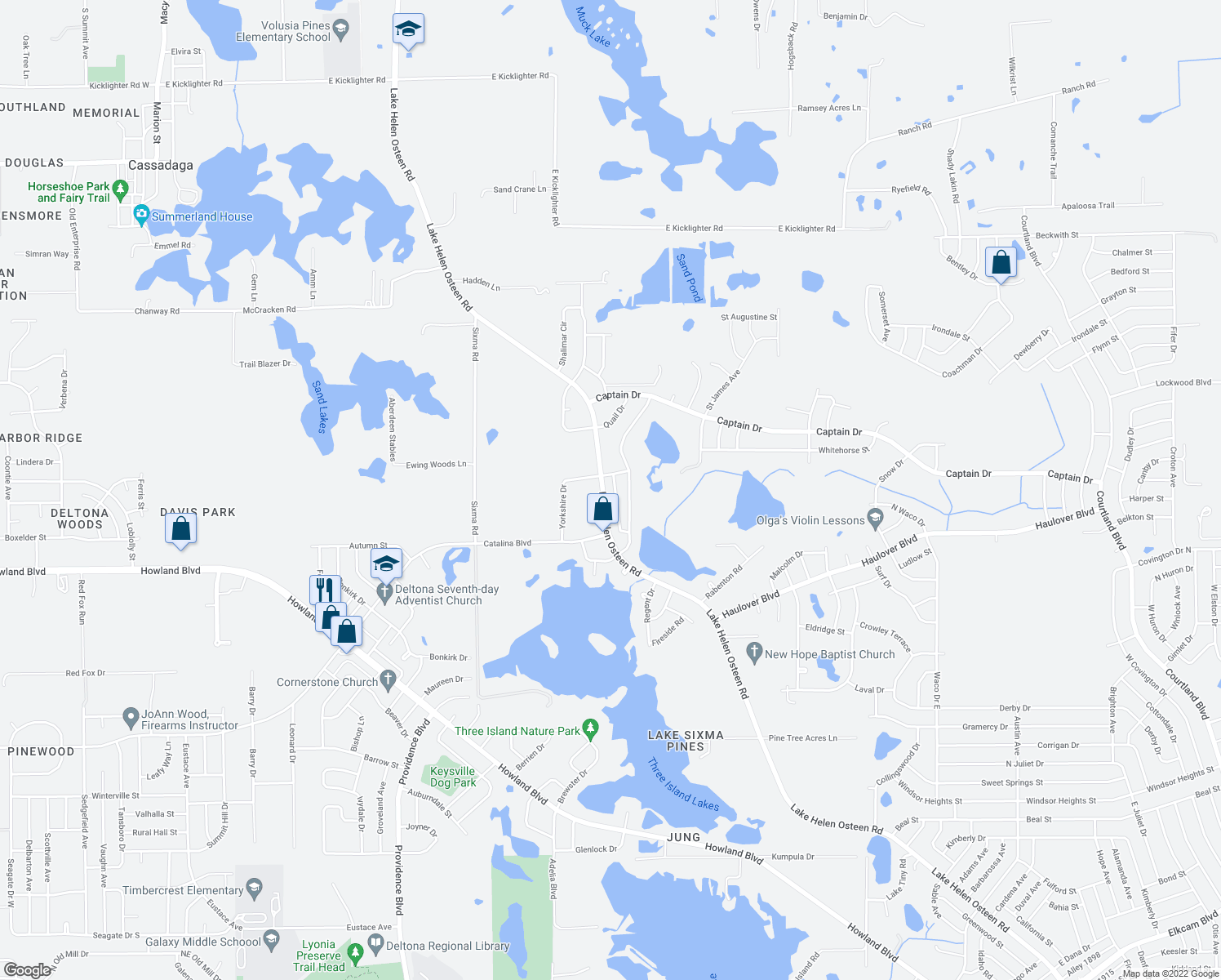 map of restaurants, bars, coffee shops, grocery stores, and more near 3085 Lake Helen Osteen Road in Deltona