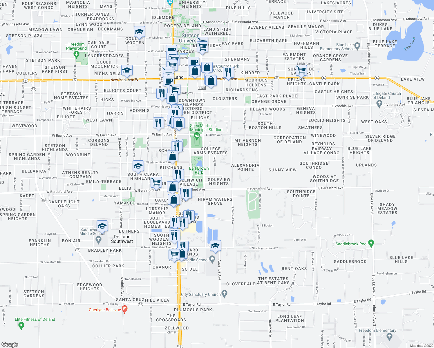 map of restaurants, bars, coffee shops, grocery stores, and more near 401 East Volusia Avenue in DeLand