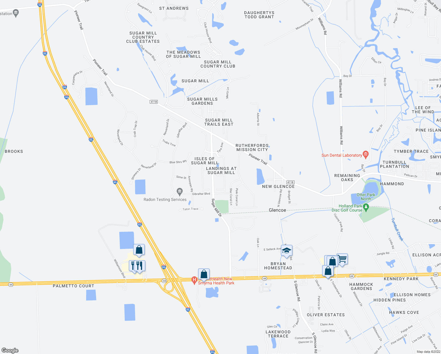 map of restaurants, bars, coffee shops, grocery stores, and more near 2662 Sicily Drive in New Smyrna Beach