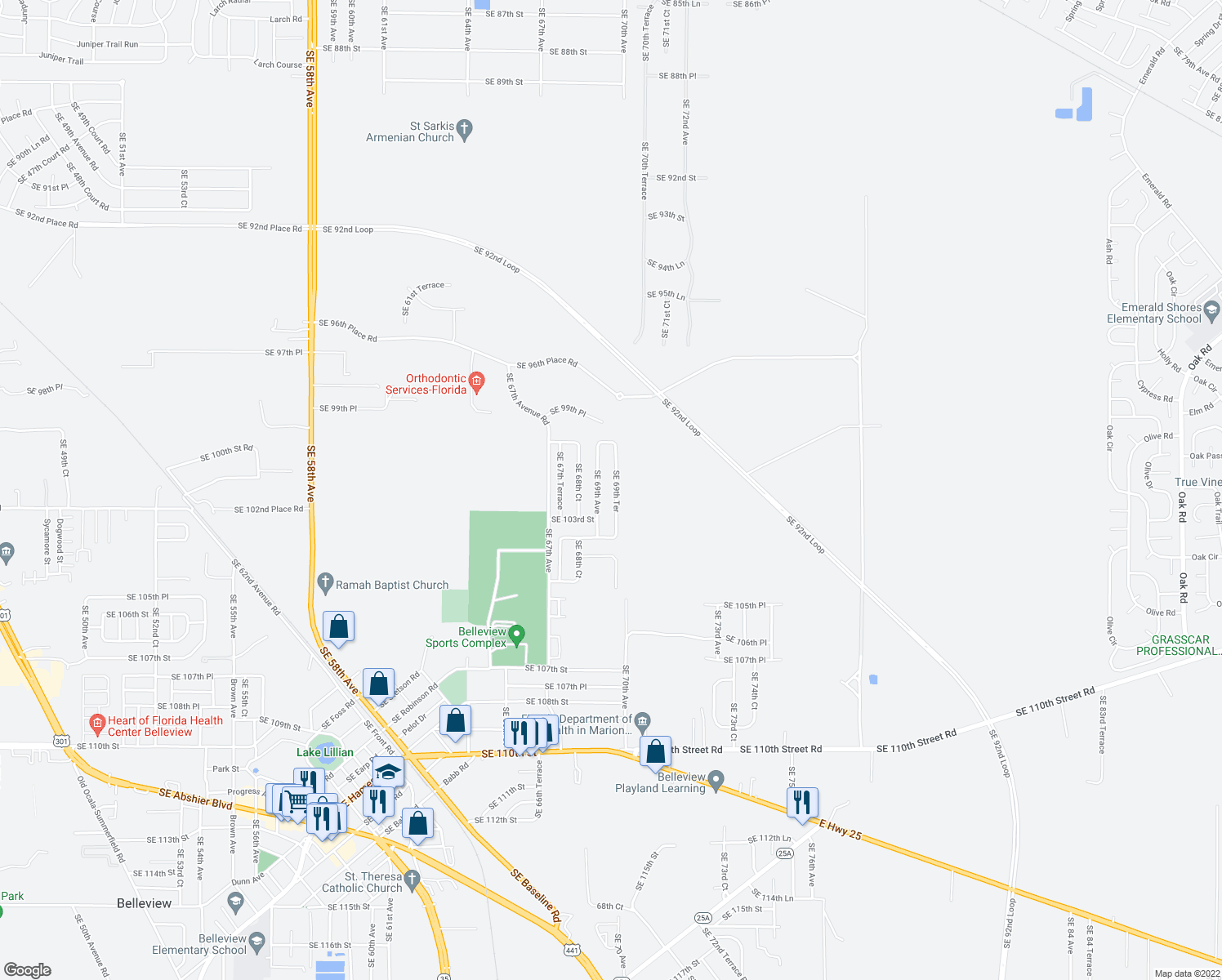 map of restaurants, bars, coffee shops, grocery stores, and more near 10200 Southeast 69th Terrace in Belleview