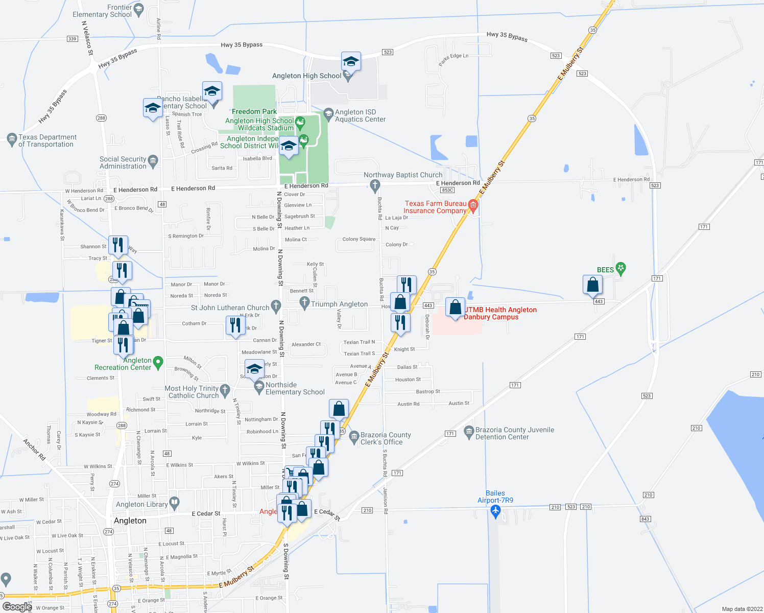 map of restaurants, bars, coffee shops, grocery stores, and more near Buchta Rd & Hospital Dr in Angleton