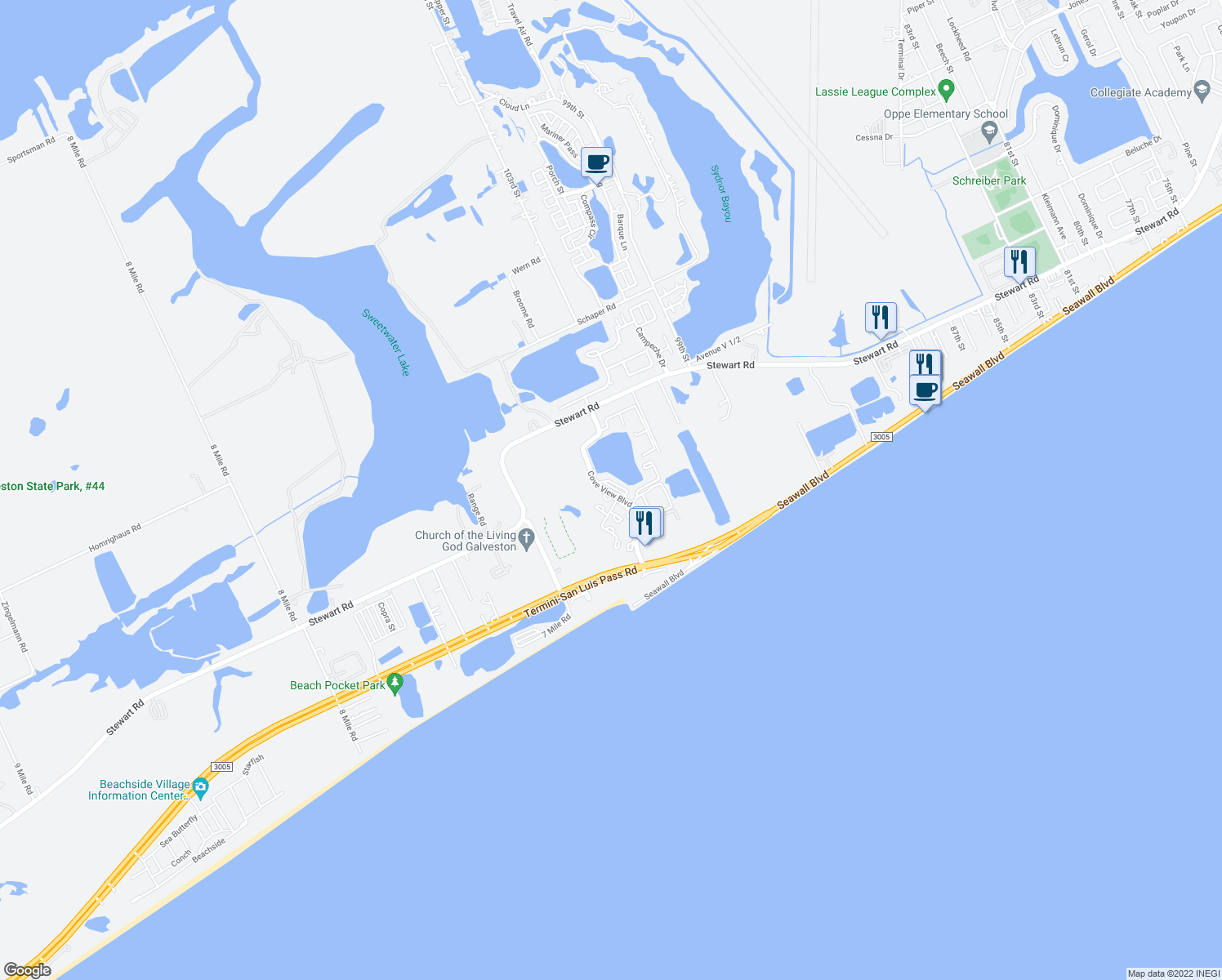 map of restaurants, bars, coffee shops, grocery stores, and more near 3433 Cove View Boulevard in Galveston