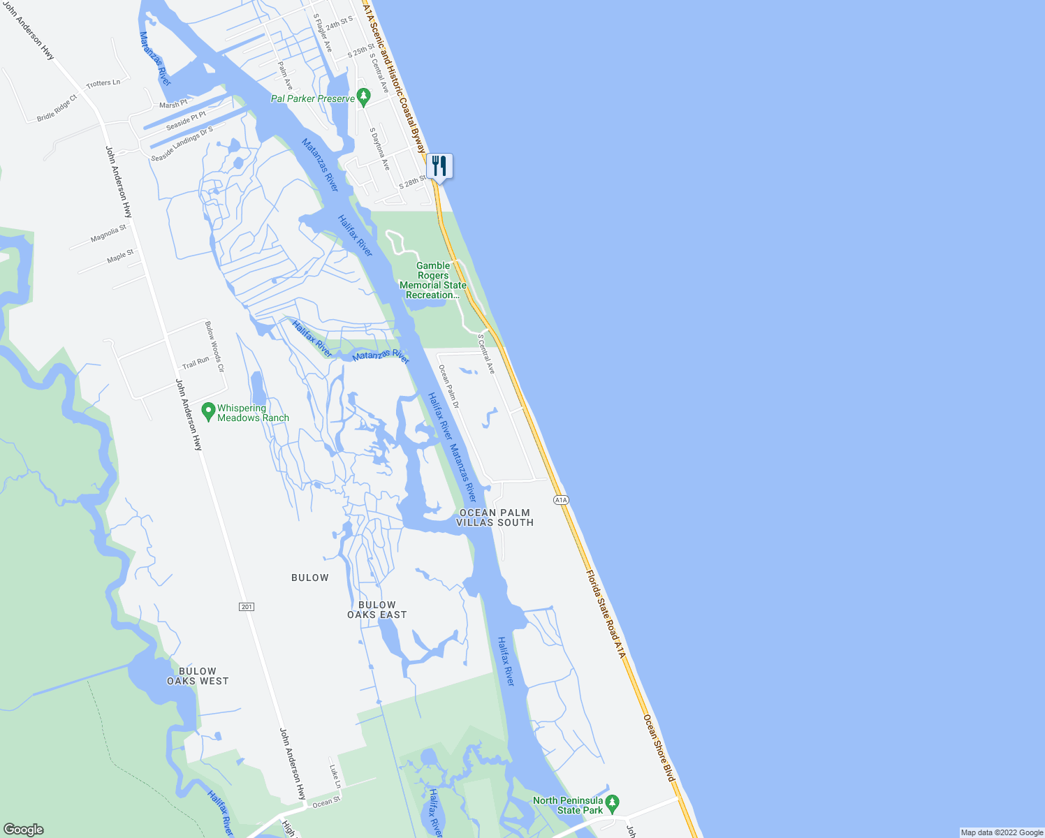 map of restaurants, bars, coffee shops, grocery stores, and more near 3600 South Oceanshore Boulevard in Flagler Beach