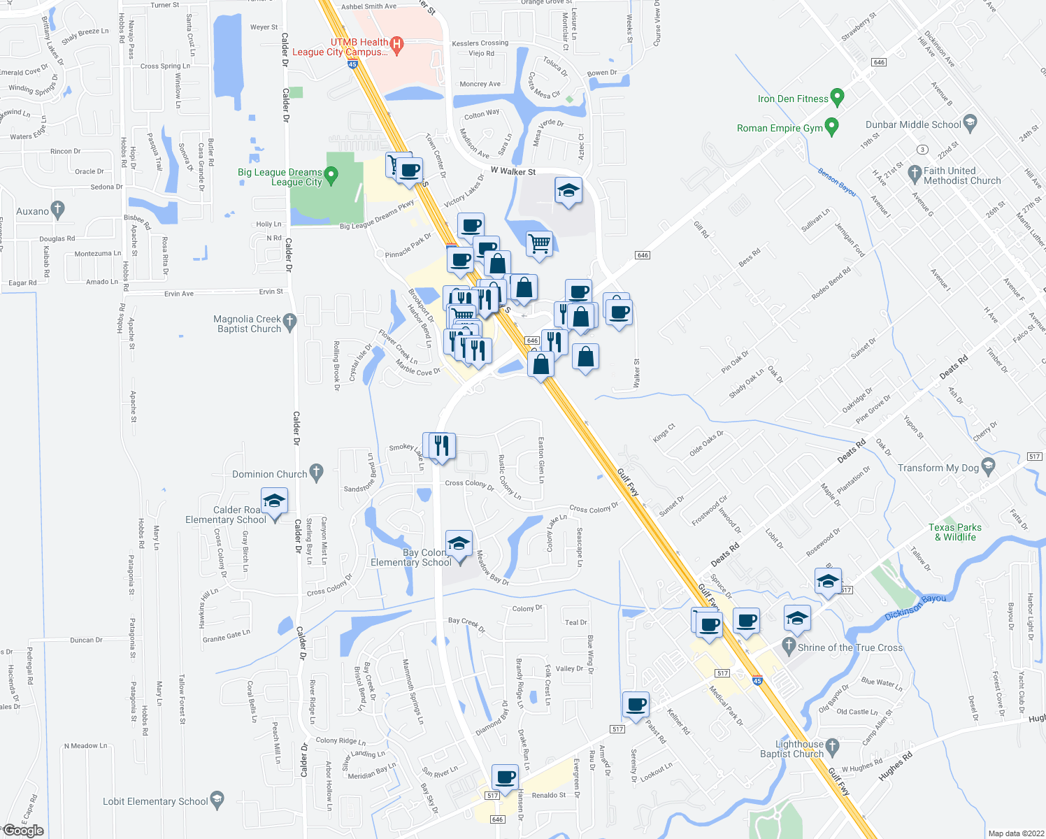 map of restaurants, bars, coffee shops, grocery stores, and more near 3127 Cambridge Meadows Lane in Dickinson