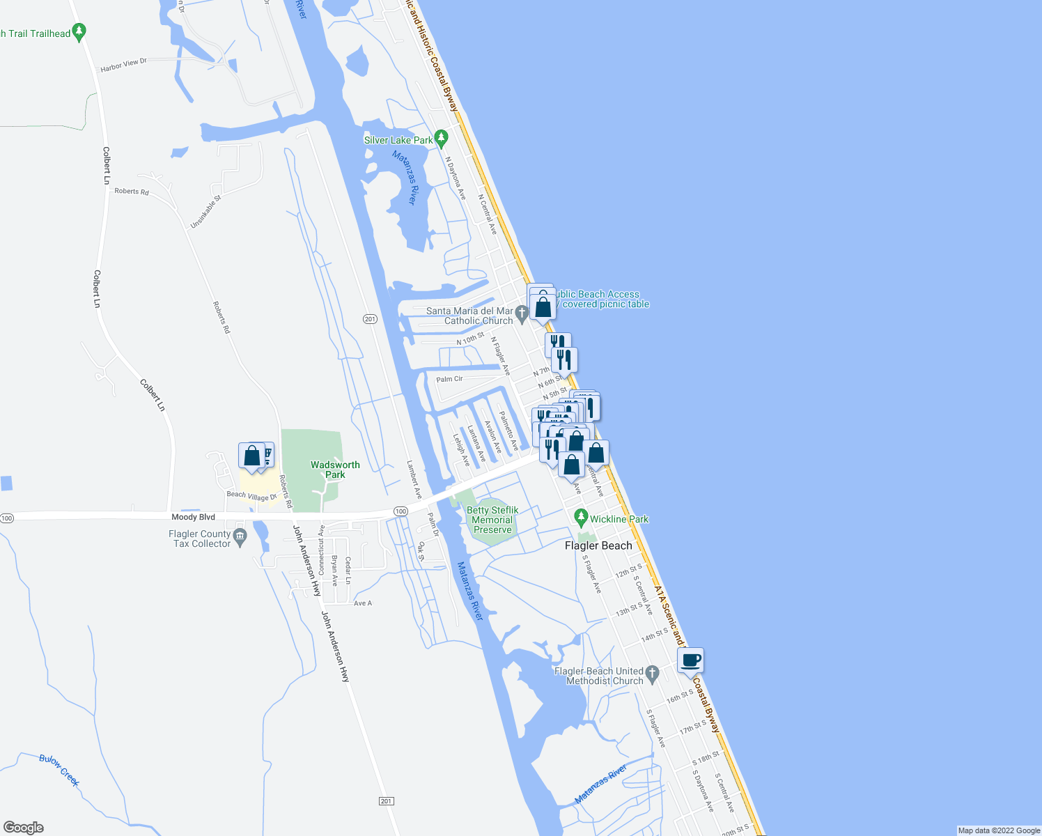 map of restaurants, bars, coffee shops, grocery stores, and more near 225 North Flagler Avenue in Flagler Beach