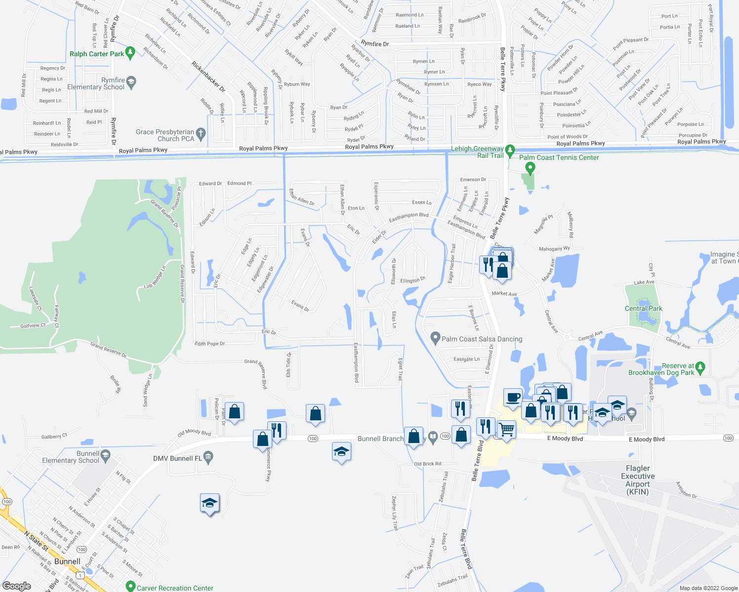 map of restaurants, bars, coffee shops, grocery stores, and more near 50 Ellsworth Drive in Palm Coast
