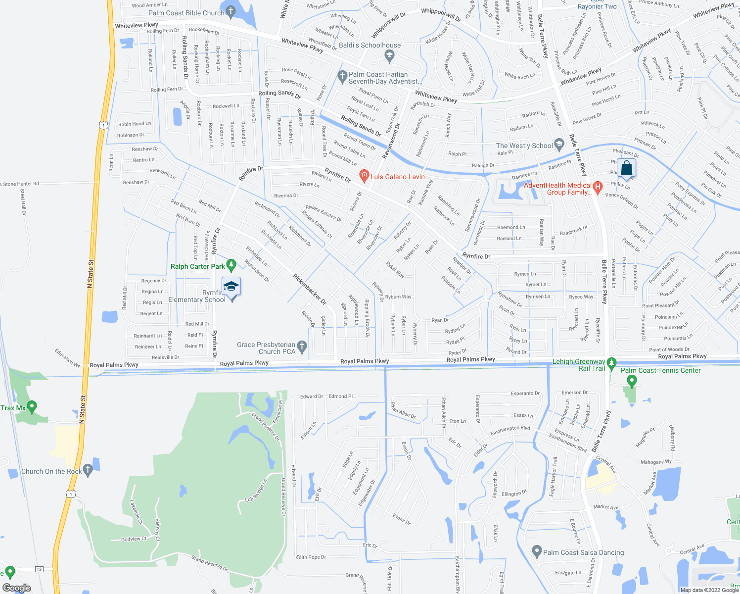 map of restaurants, bars, coffee shops, grocery stores, and more near 31 Rippling Brook Drive in Palm Coast