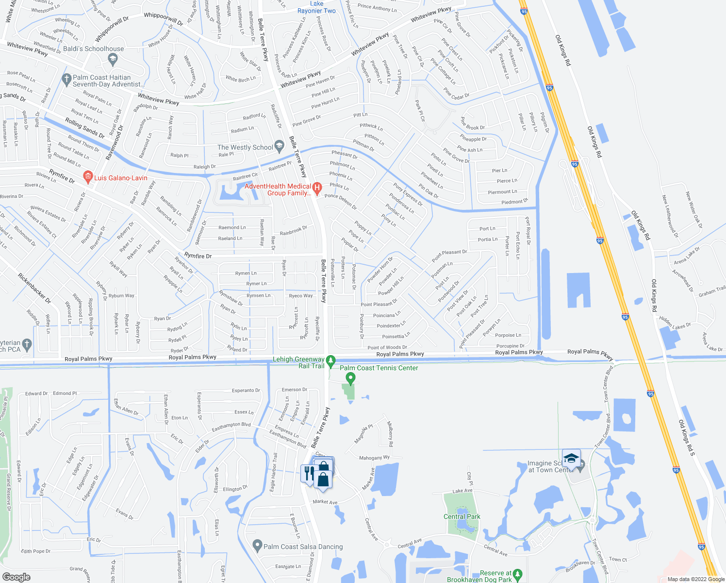 map of restaurants, bars, coffee shops, grocery stores, and more near 2 Powder Hill Lane in Palm Coast