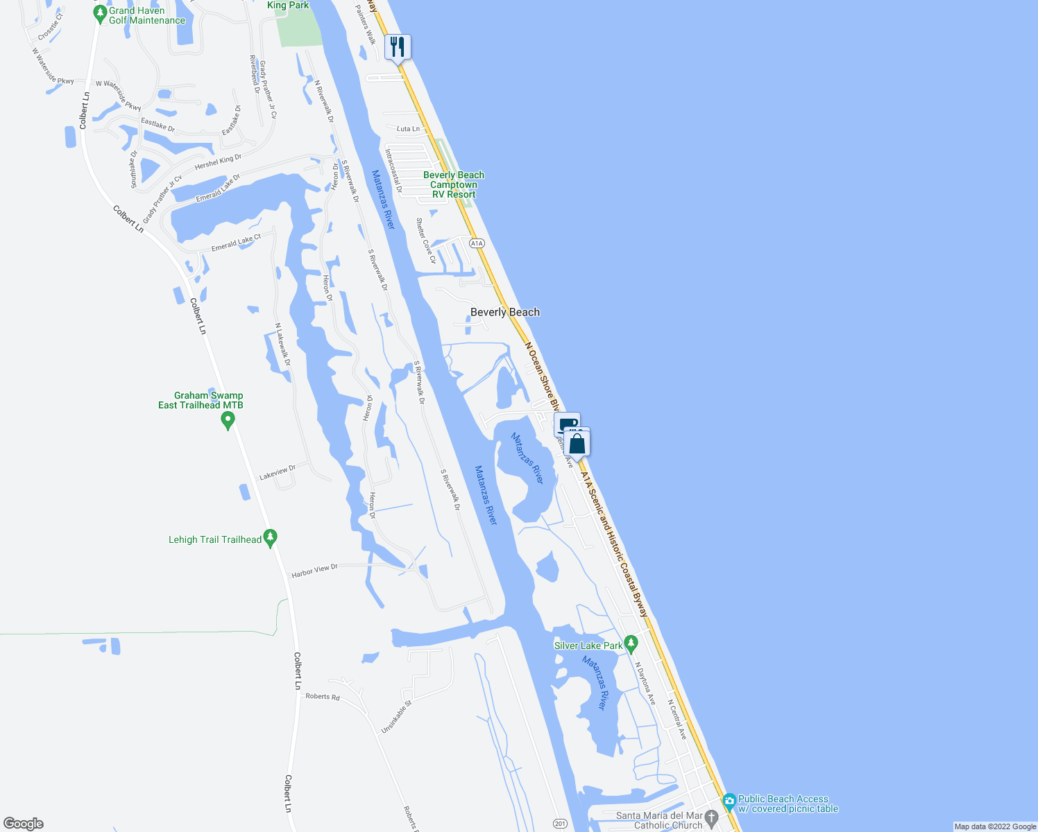 map of restaurants, bars, coffee shops, grocery stores, and more near 300 Ocean Marina Drive in Flagler Beach