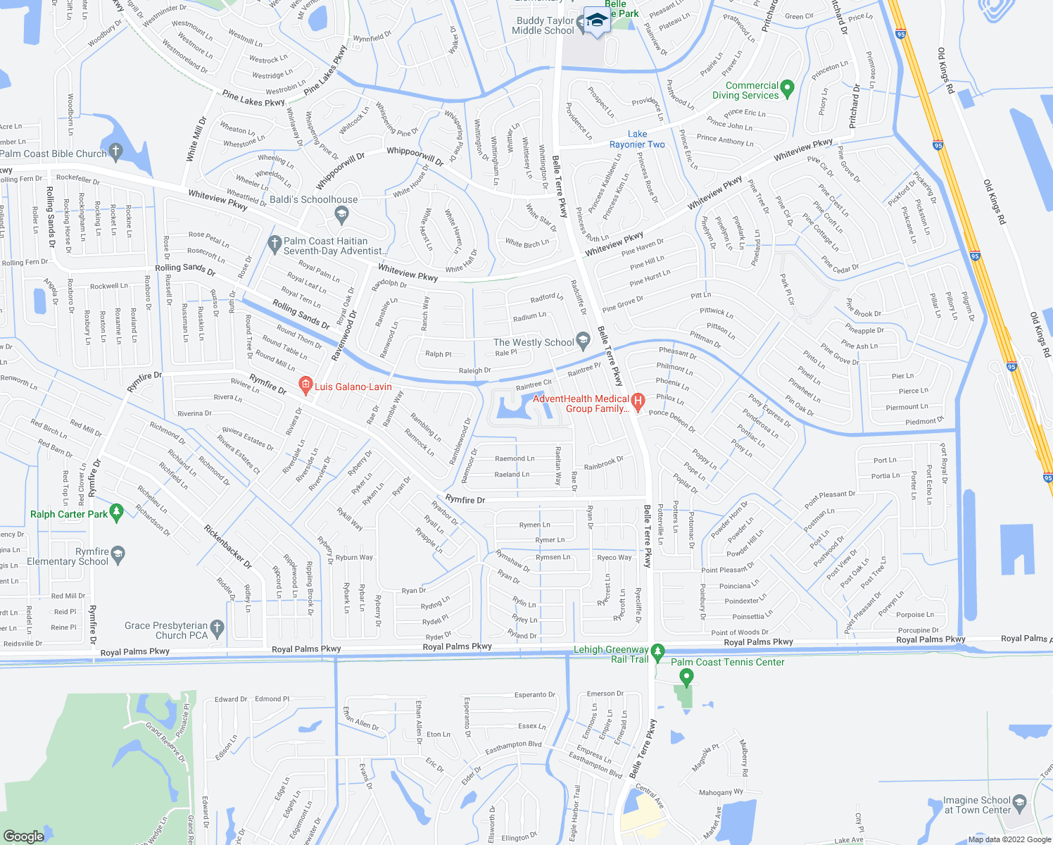 map of restaurants, bars, coffee shops, grocery stores, and more near 133 Raintree Circle in Palm Coast
