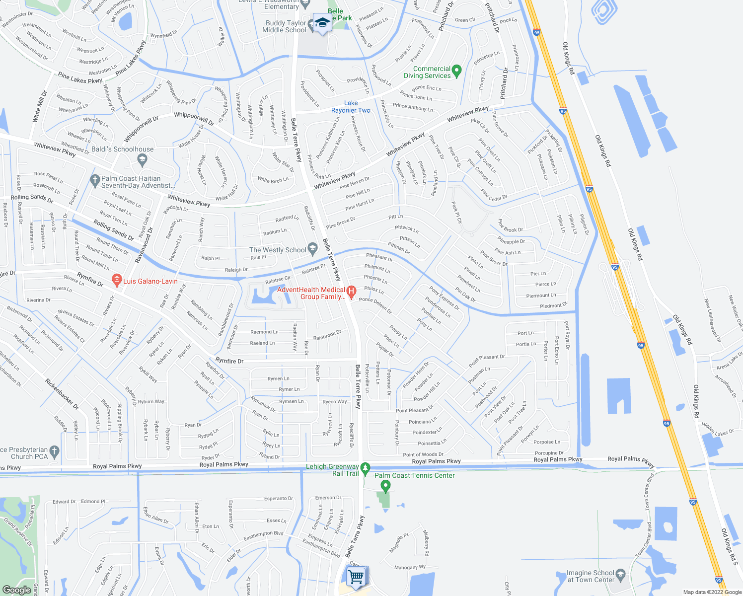 map of restaurants, bars, coffee shops, grocery stores, and more near 14 Ponce Deleon Drive in Palm Coast