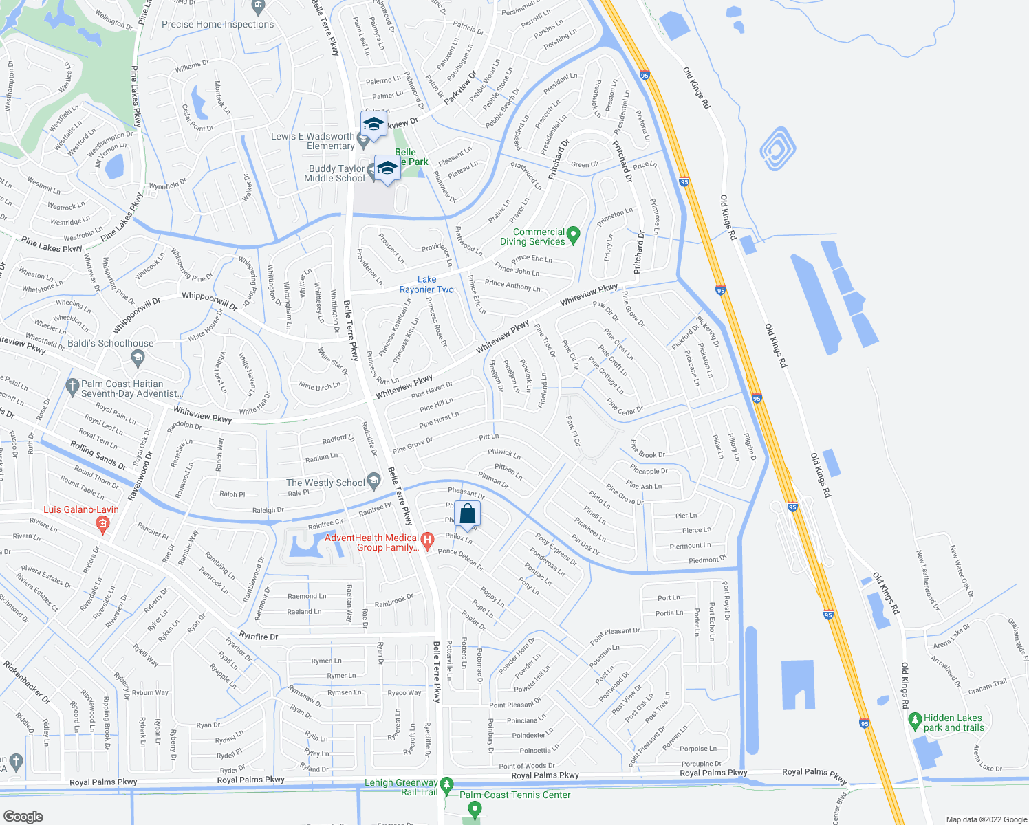 map of restaurants, bars, coffee shops, grocery stores, and more near 65 Pine Grove Drive in Palm Coast